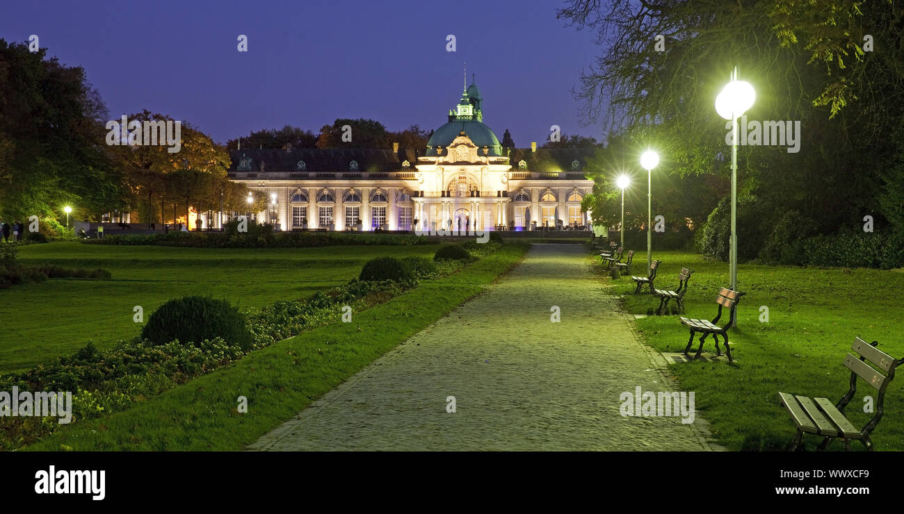 illuminated Kaiserpalais in the spa park at blue hour, Bad Oeynhausen, Germany, Europe Stock Photo
