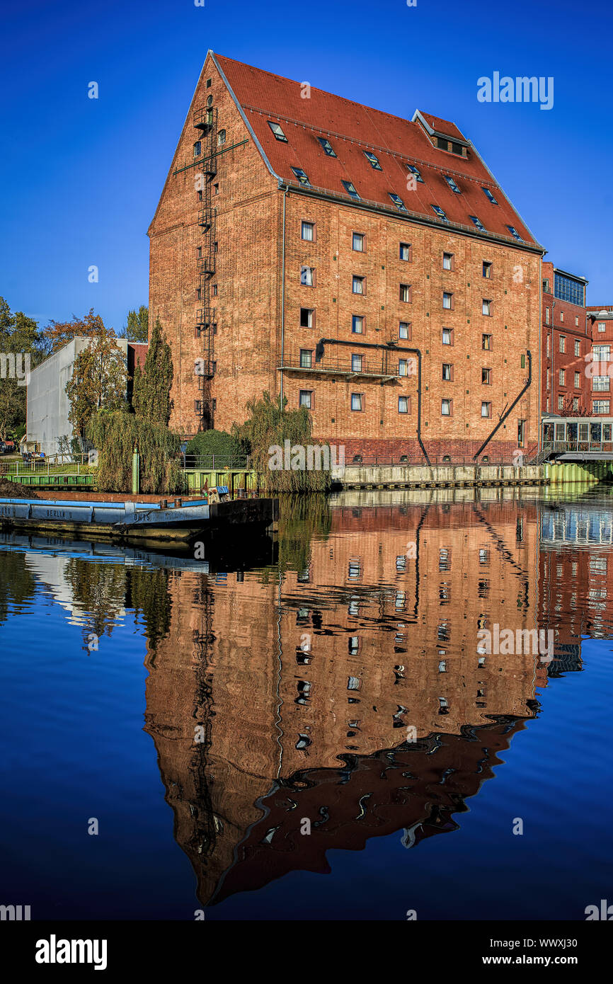 Old store in the port of Berlin Tegel Stock Photo