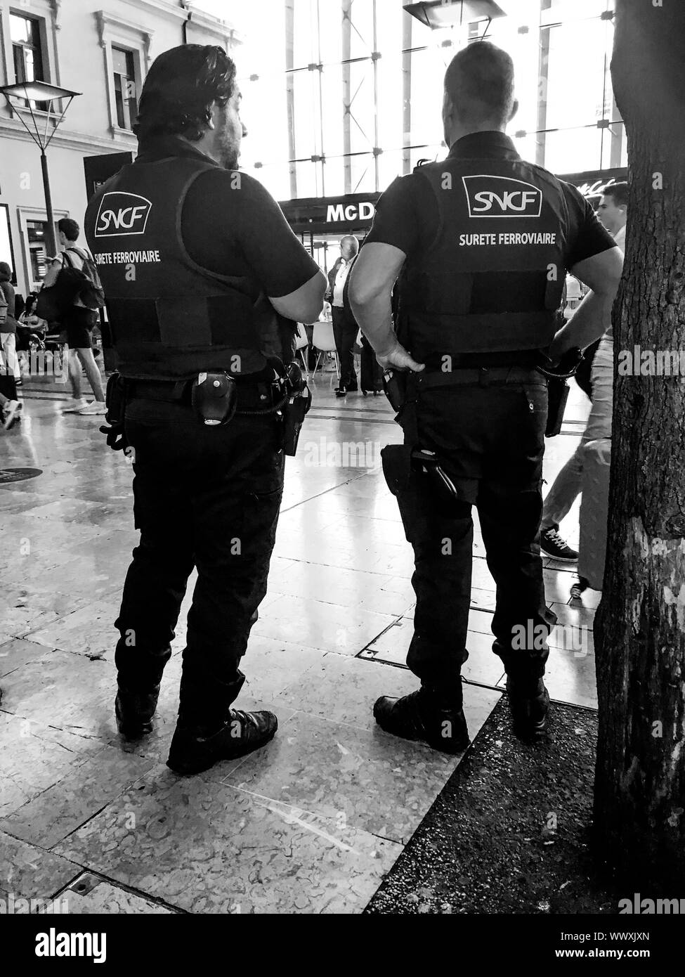 Railway police officers mount guard at Sainy-Charle Station, Marseille, Bouches-du-Rhône, PACA, France Stock Photo