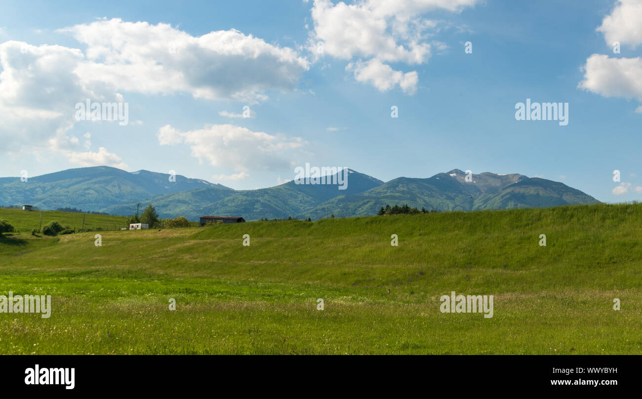 Krivanska Mala Fatra mountains with highest Velky Krivan hill from meadow near Krpelany village in Slovakia during nice springtime afternoon Stock Photo