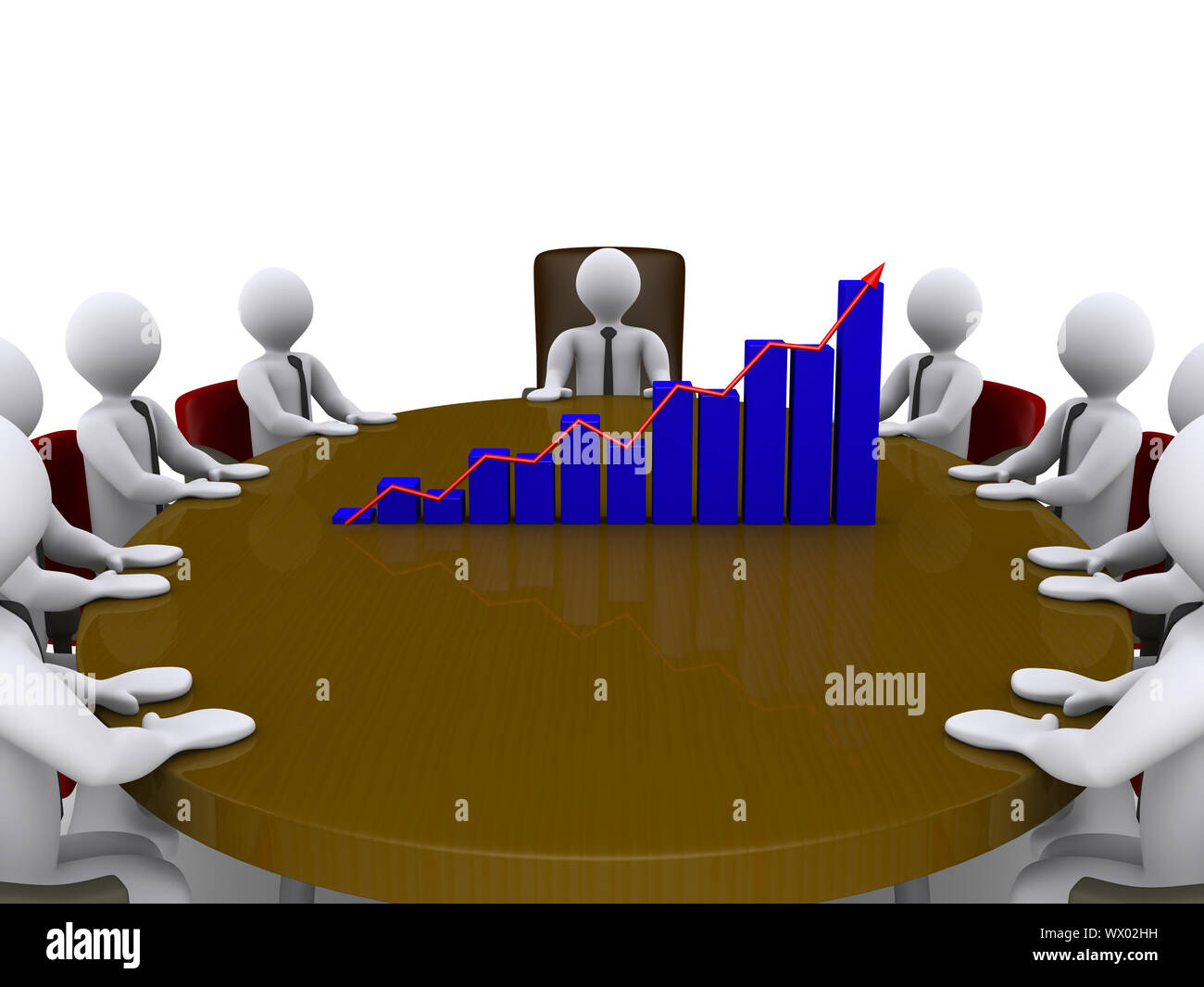 Businessmen sitting around a table which has a chart on top of it Stock Photo