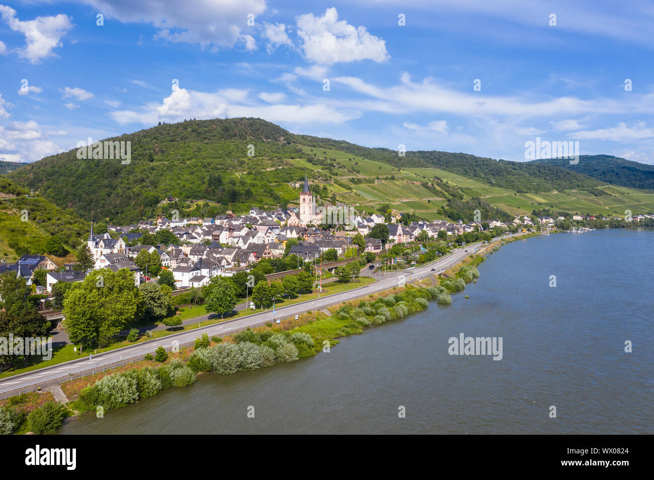 The Rhine River at Lorch, UNESCO World Heritage Site, Middle Rhine valley, Hesse, Germany, Europe Stock Photo