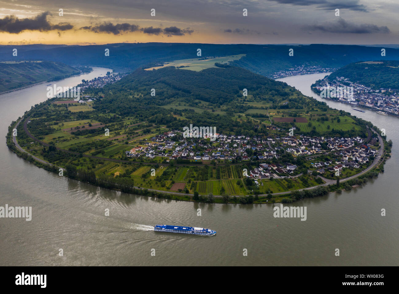 View from the Gedeonseck down to the Rhine bend, UNESCO World Heritage Site, Middle Rhine valley, Rhineland-Palatinate, Germany, Europe Stock Photo