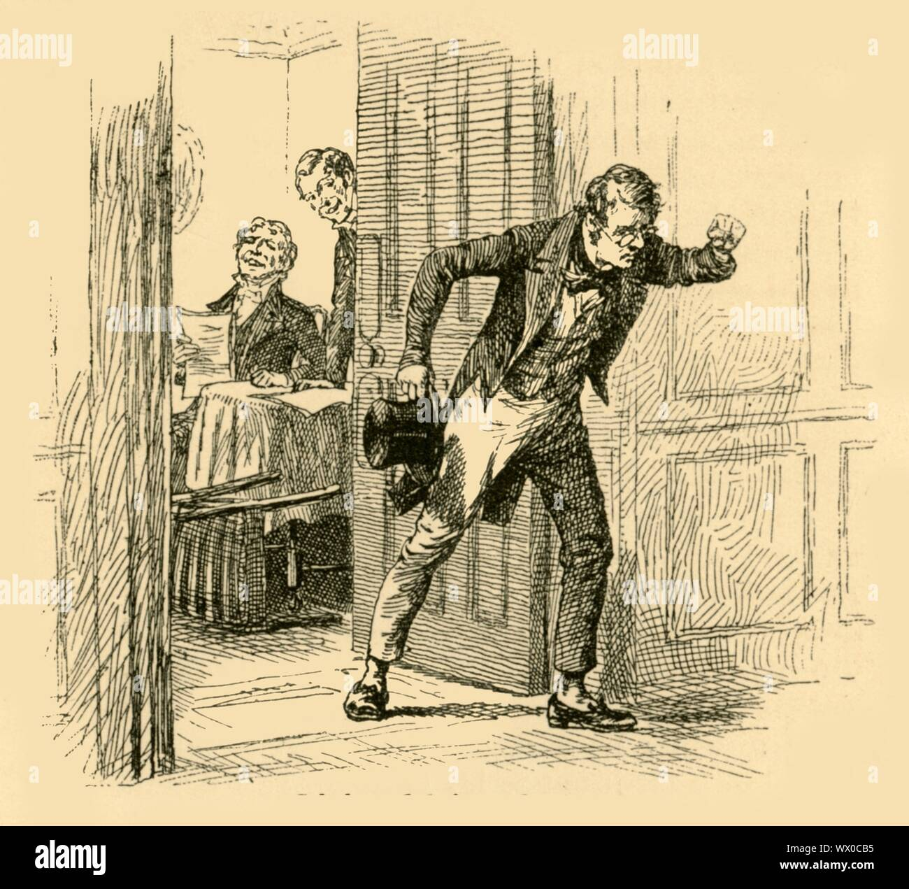 'Schubert fled from the room', (1907). In 1822, the young Schubert meets the celebrated composer Beethoven: '...a courteous but somewhat formal welcome was accorded them. This in itself was bad enough for poor Schubert, whose courage straightway forsook him; but when Beethoven proceeded to hand to him the bundle of paper and the carpenter's pencil which, owing to his deafness, he kept in readiness for his visitors, Schubert's shyness prevented him writing a single word...Beethoven, looking through the composition, lighted upon something to which he took exception, and forthwith proceeded to po Stock Photo