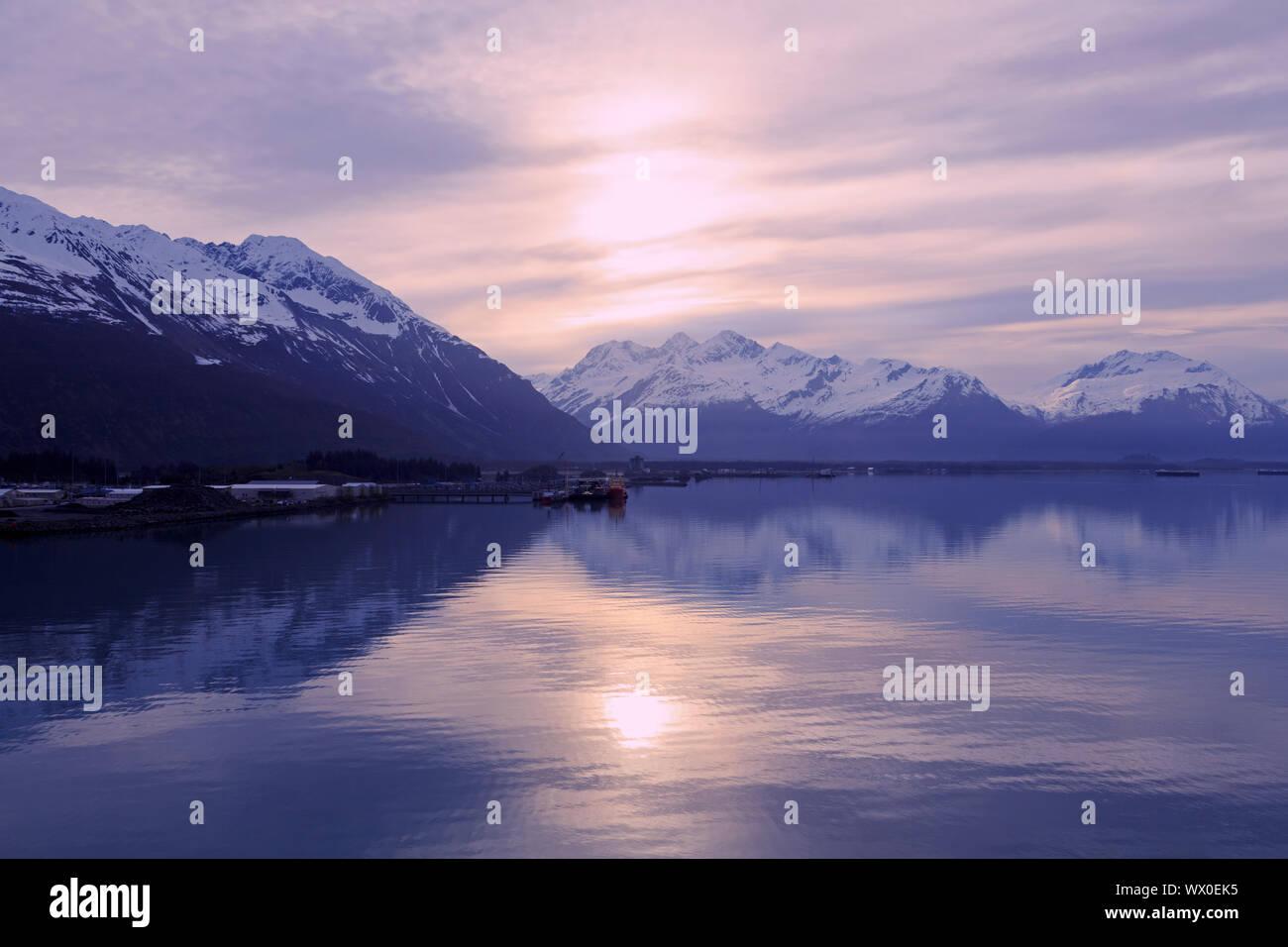 Sunrise, Valdez, Prince William Sound, Alaska, United States of America, North America Stock Photo