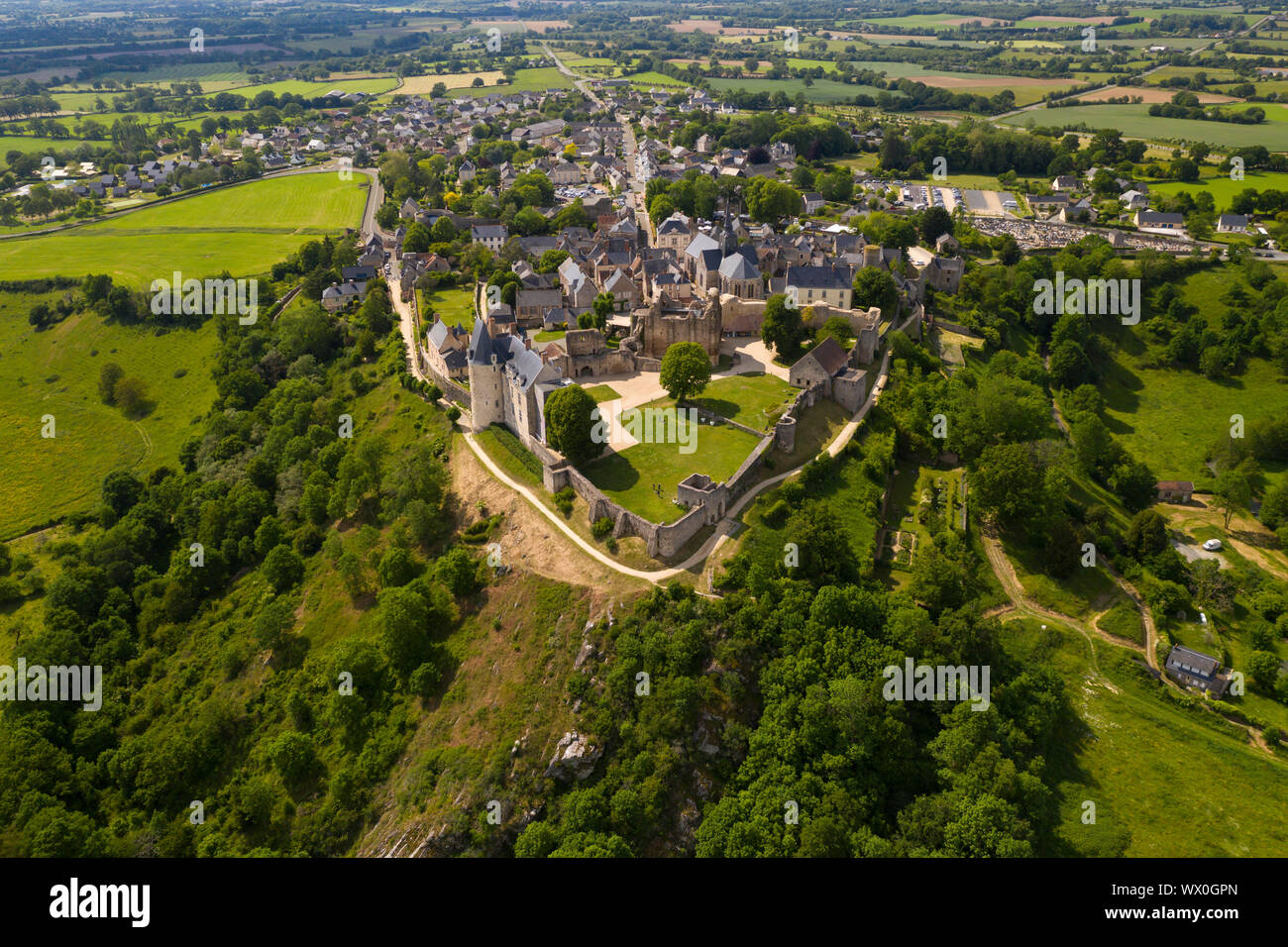 Drone View Of The Hilltop Village Of Saint Suzanne In The Mayenne Area France Europe Stock Photo Alamy
