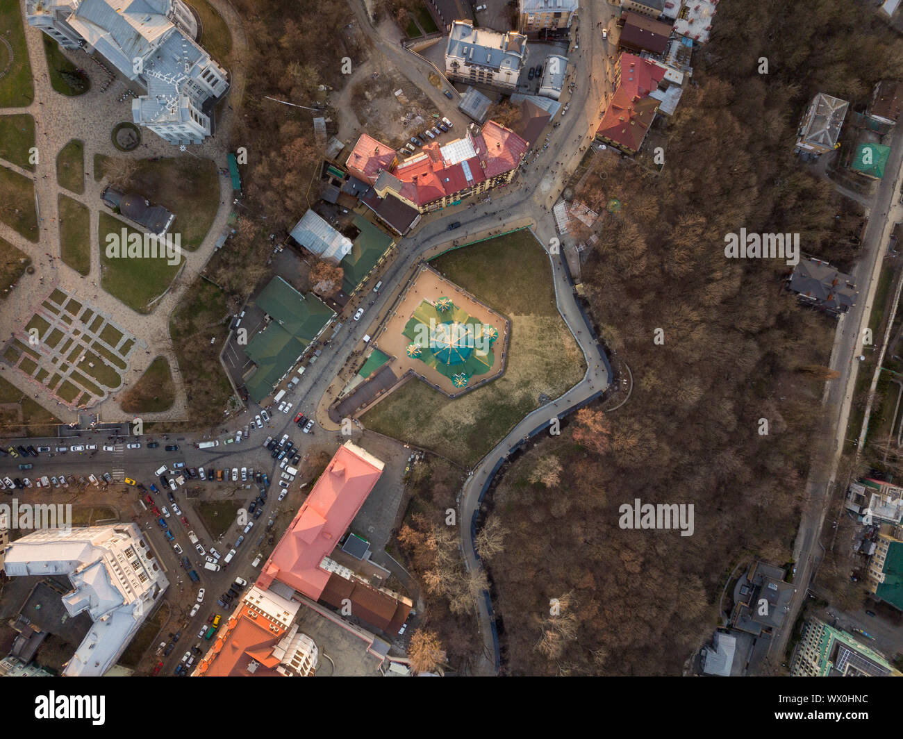 Aerial top view of Saint Andrew's church from above in Kiev city Stock Photo