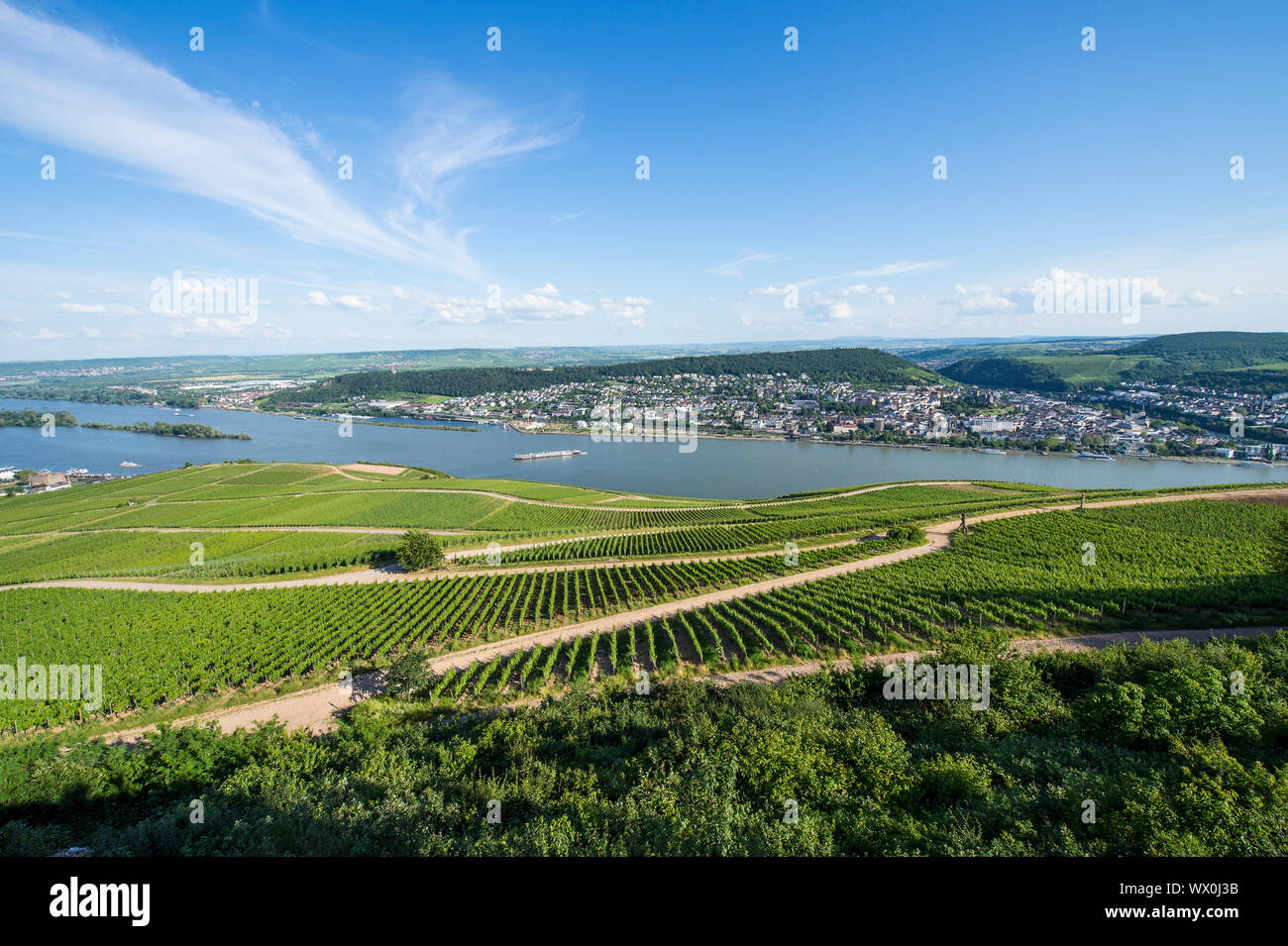 View over the River Rhine from the Niederwalddenkmal monument, UNESCO World Heritage Site, Middle Rhine valley, Germany, Europe Stock Photo