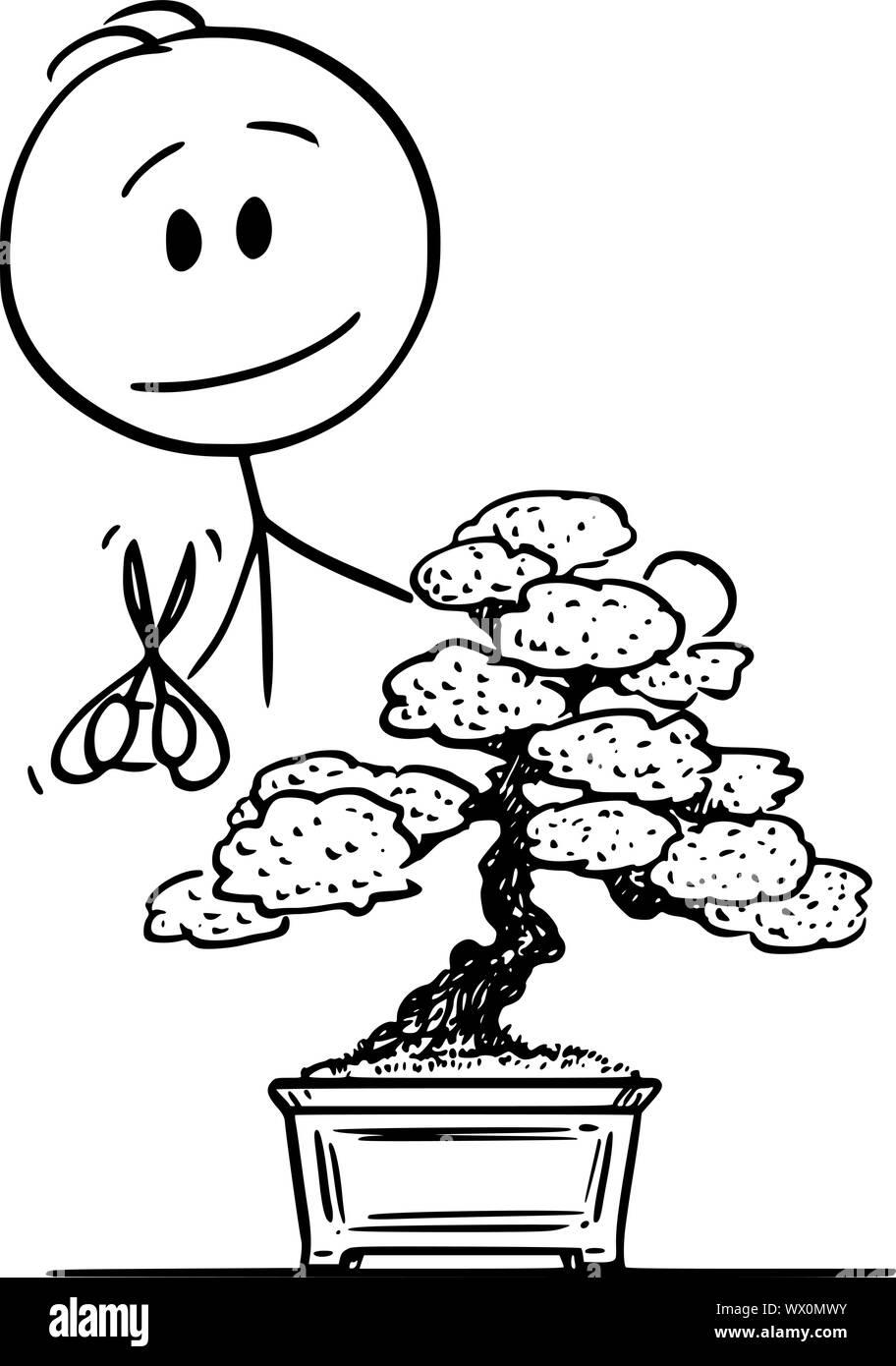 Vector Cartoon Stick Figure Drawing Conceptual Illustration Of Man Pruning Bonsai Tree Stock Vector Image Art Alamy