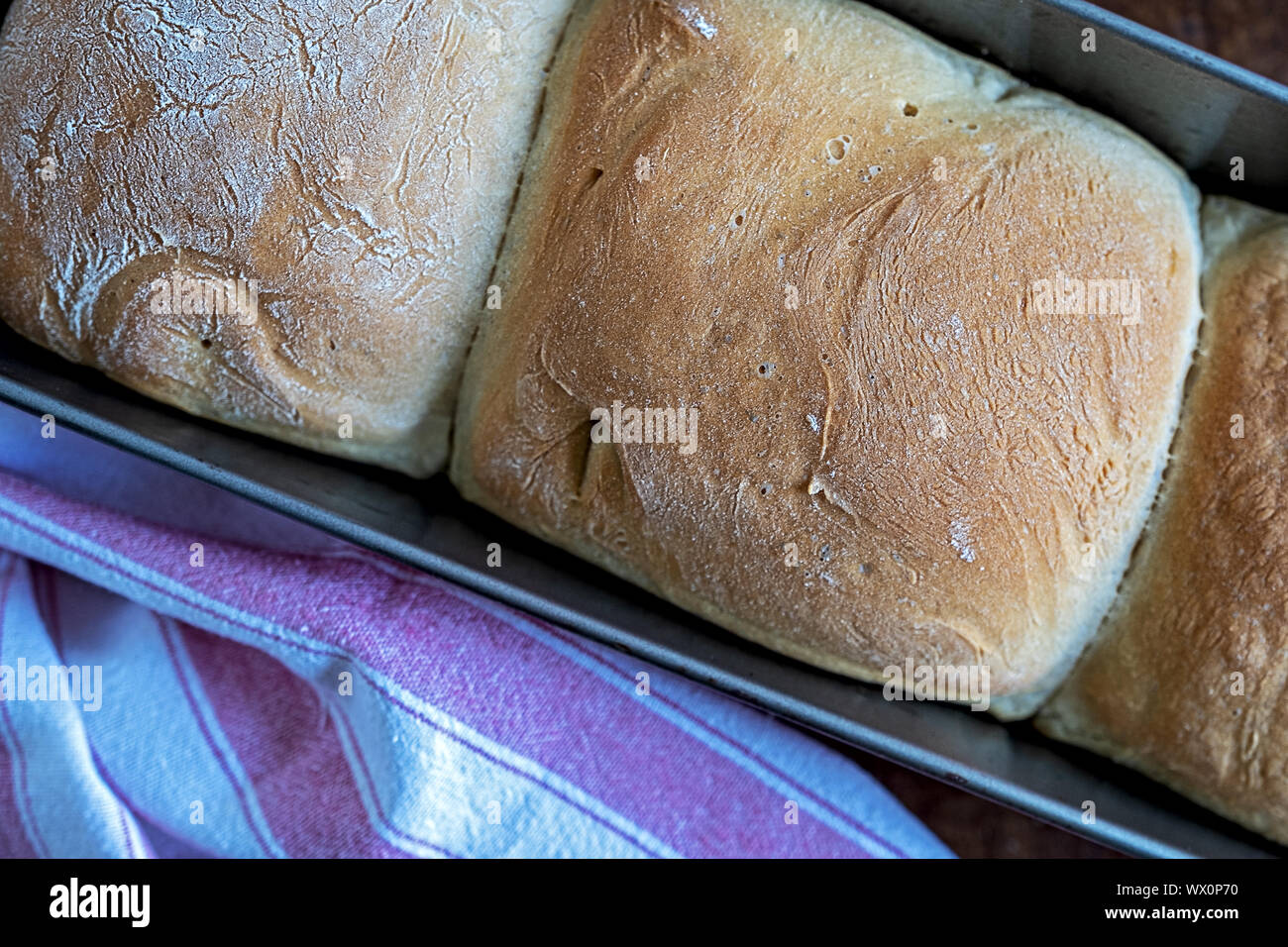 crispy homemade white bread fresh out from the oven Stock Photo