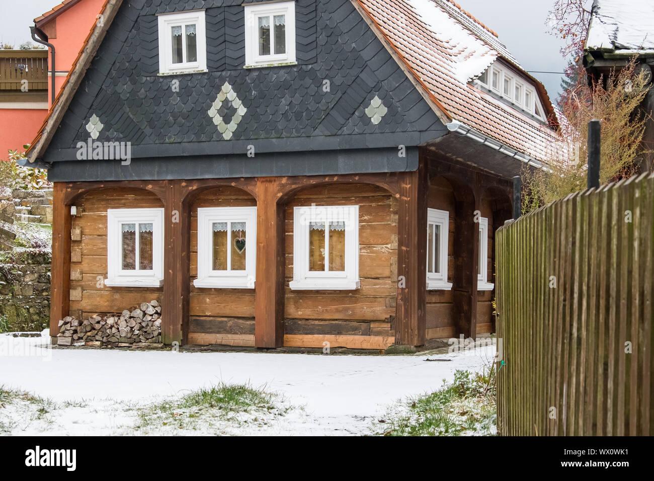 historical Upper Lusatian half-timbered houses in Waltersdorf Zittauer Gebirge Stock Photo