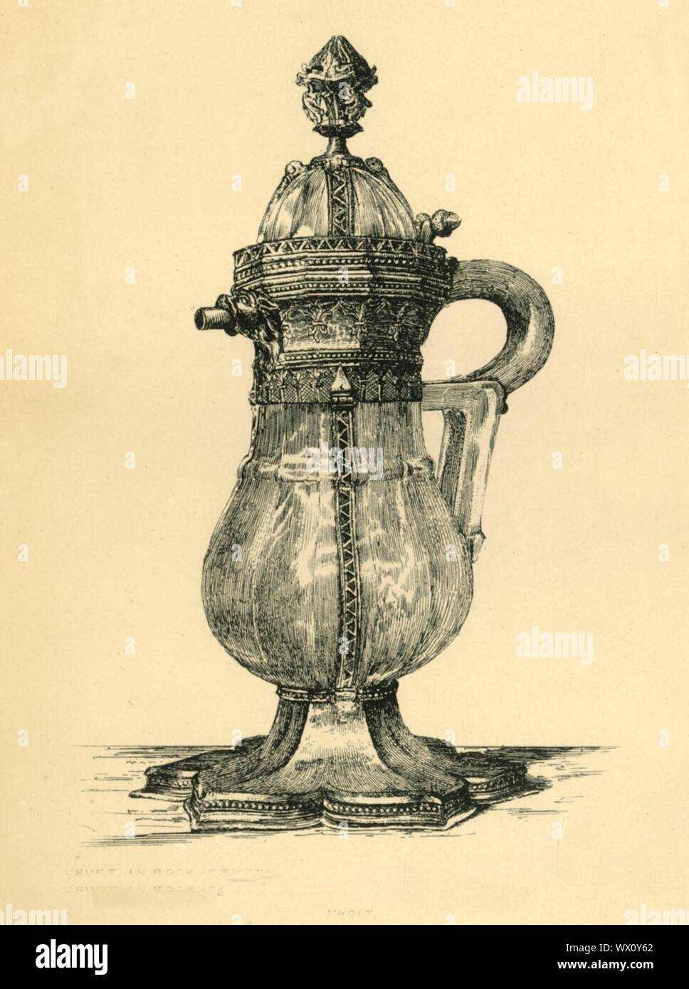 """Crystal cruet, 14th century, (1881). Etching of a small ewer made 1340-1350 in Paris, of rock crystal, with gilt-silver and enamel. Rock crystal was a material favoured for vessels because of its transparency, and the belief that it would reveal the presence of poison. From """"The South Kensington Museum"""", a book of engraved illustrations, with descriptions, of the works of art in the collection of the Victoria & Albert Museum in London (formerly known as the South Kensington Museum). [Sampson Low, Marston, Searle and Rivington, London, 1881] Stock Photo"""