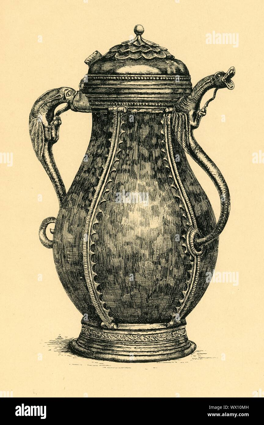 "Porphyry ewer, 1468-1491, (1881). Etching of a lidded ewer made in Mechelen, Flanders, by Seger van Steynemoelen, mid-late 15th century. This ewer is made of silver mounts, incorporating an ancient, probably Roman, green porphyry vase dating from between the 1st century BC and the 1st century AD. The spout is in the form of a gaping dragon. From ""The South Kensington Museum"", a book of engraved illustrations, with descriptions, of the works of art in the collection of the Victoria & Albert Museum in London (formerly known as the South Kensington Museum). [Sampson Low, Marston, Se Stock Photo"