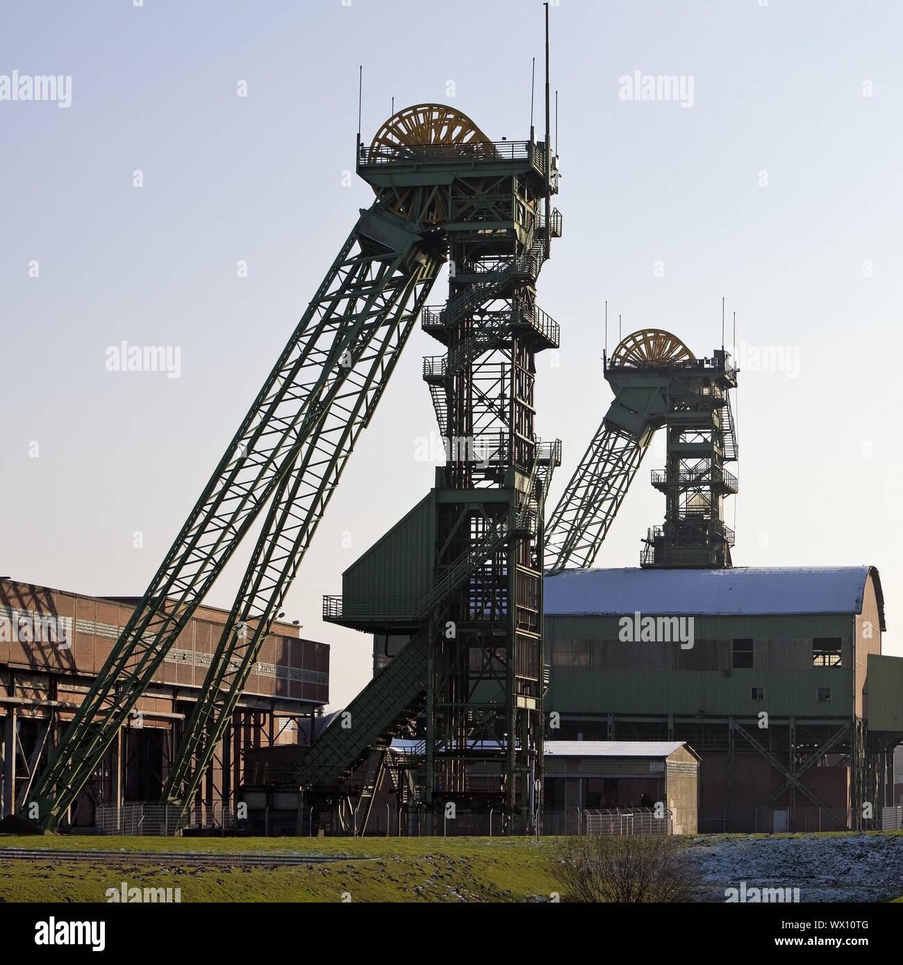 shaft tower of the disused coal mine Westfalen, Ahlen, North Rhine-Westphalia, Germany, Europe Stock Photo
