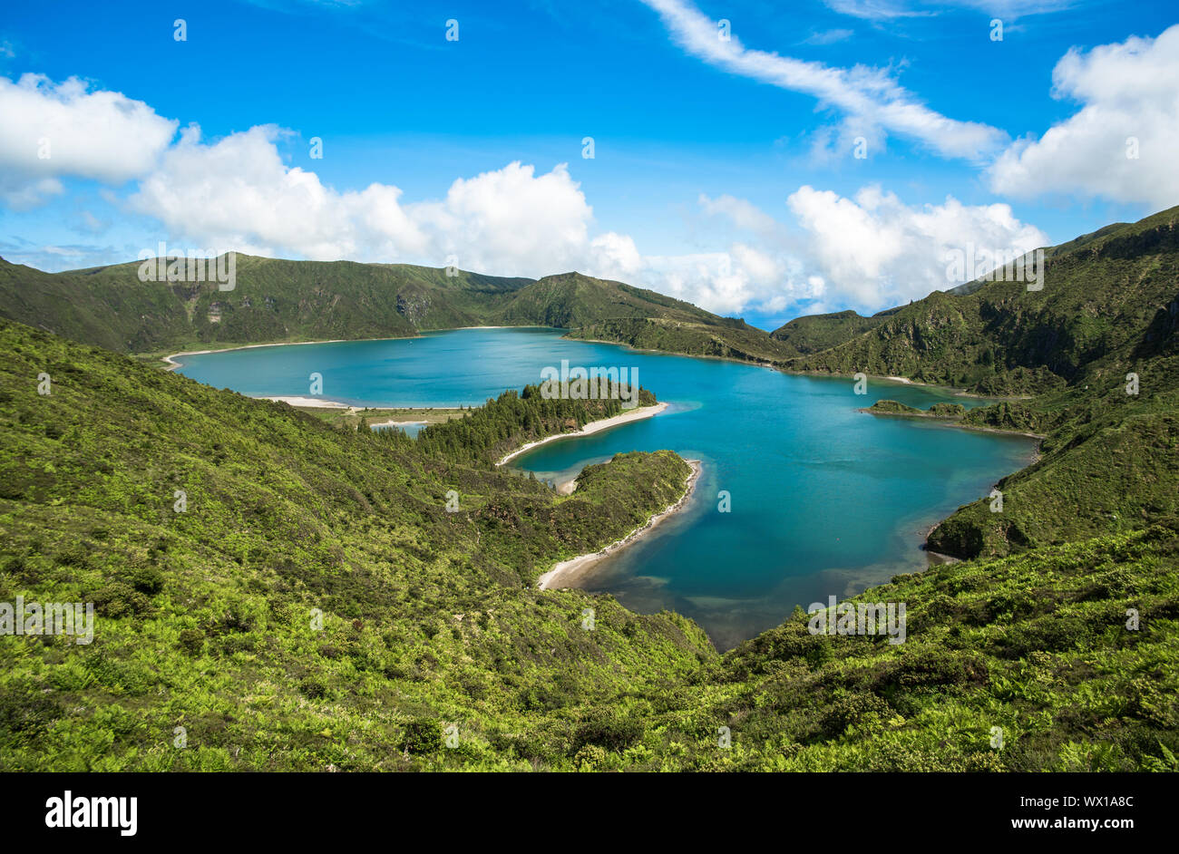 Panoramic view of Fogo lake in Sao Miguel Island, Azores, Portugal Stock Photo