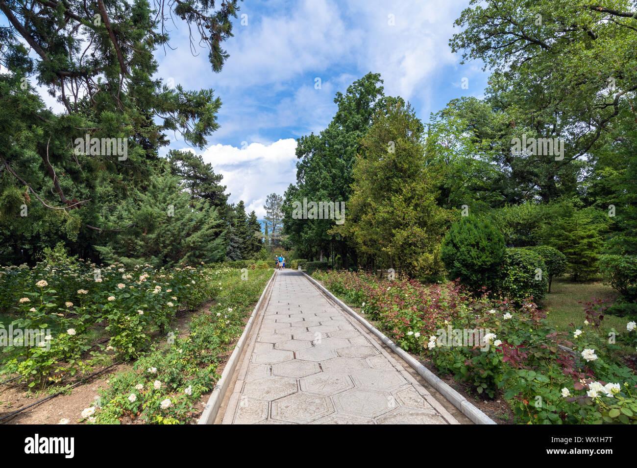 Livadia, Crimea - July 10. 2019. Park on the territory of the Livadia Palace, the Residence of Russian Tsars Stock Photo