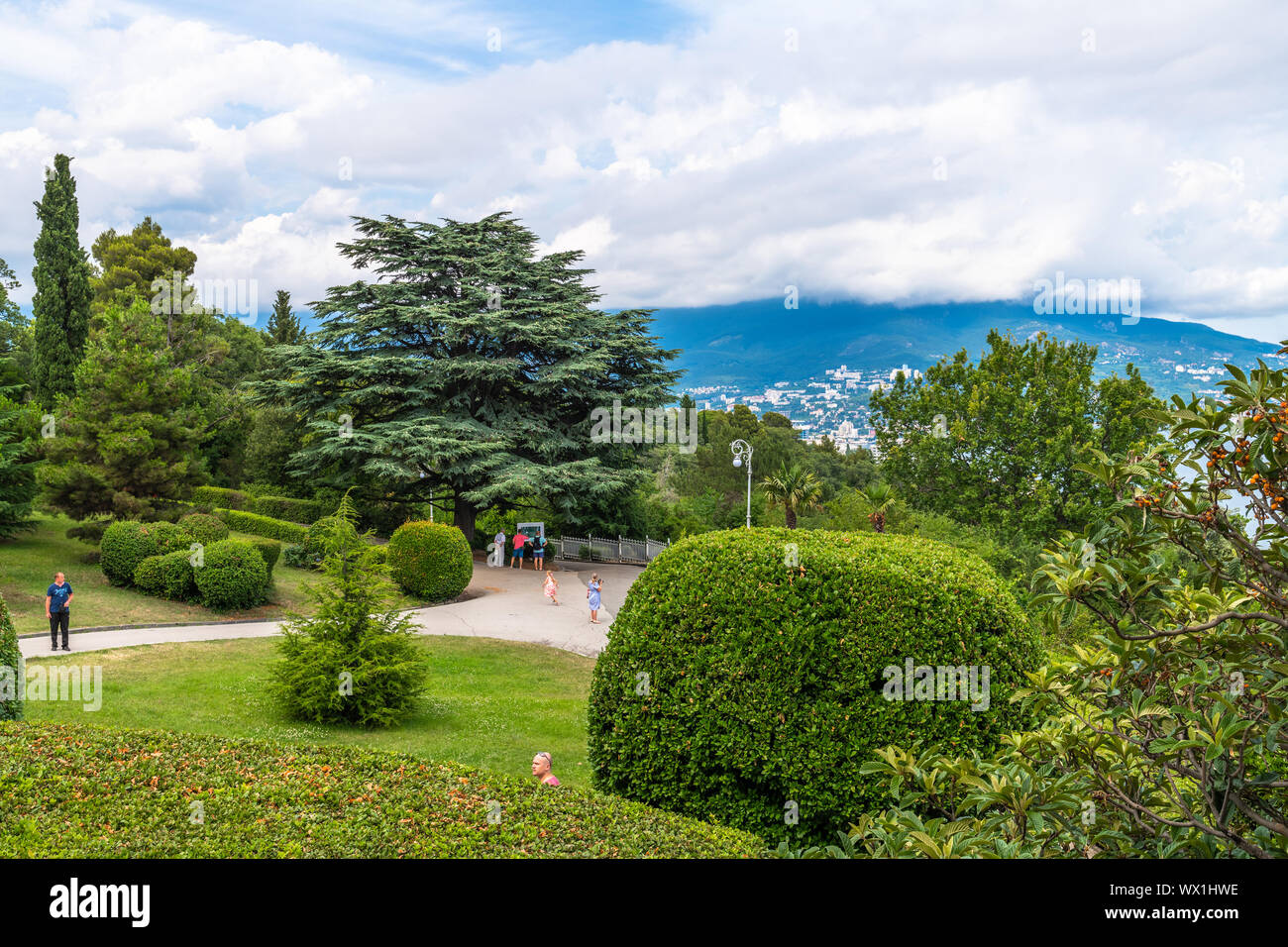 Livadia, Crimea - July 10. 2019. Park on the territory of the Livadia Palace, the Residence of Russian Tsars Stock Photo