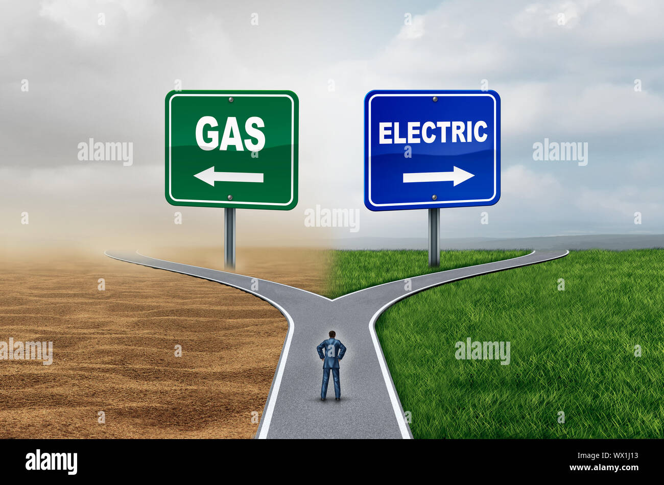 Gas vs electric energy transportation fuel concept as gasoline versus battery technology with 3D illustration elements. Stock Photo