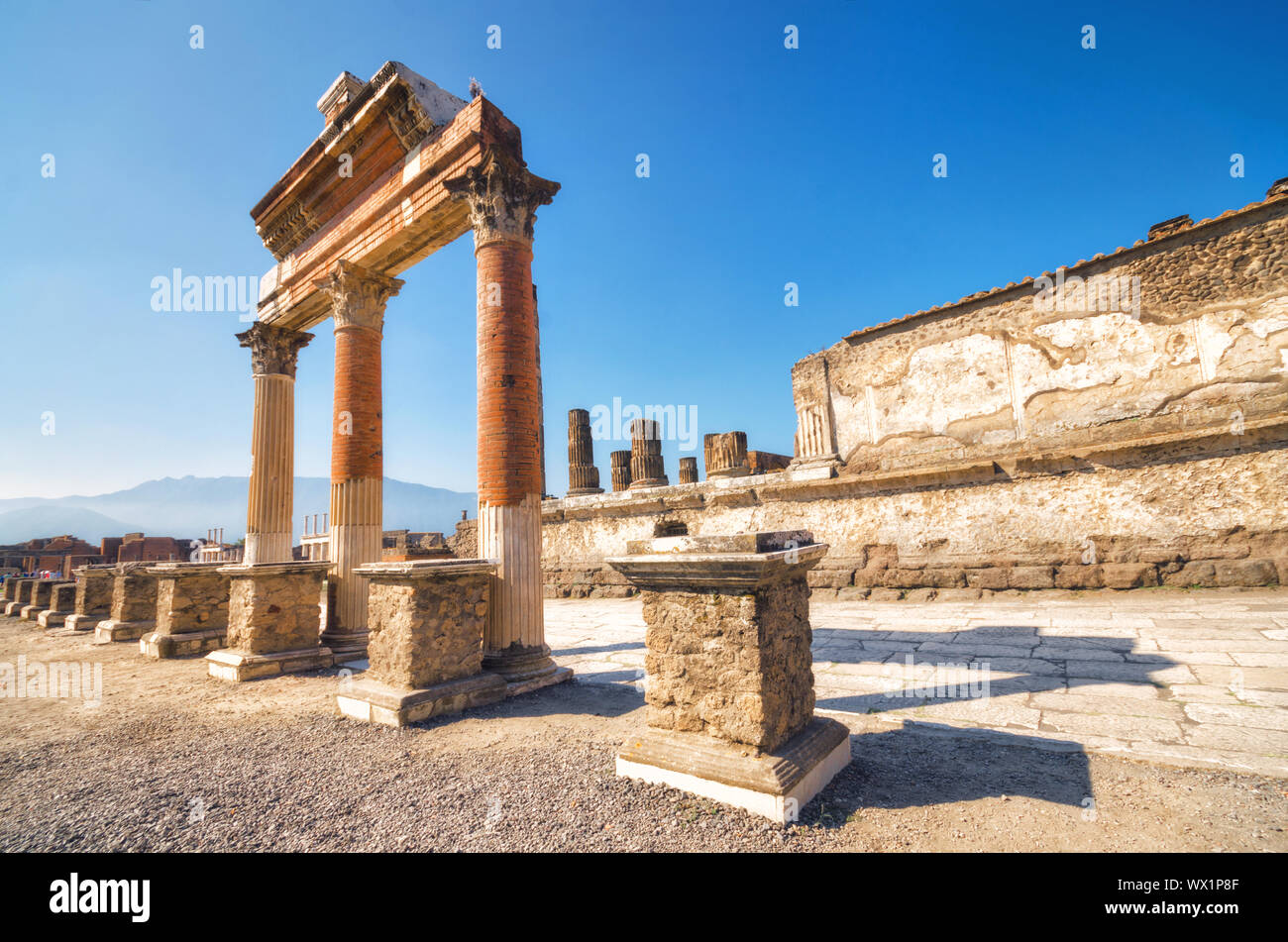 Ruins of the ancient roman city of Pompeii, which was destroyed by volcano, Mount Vesuvius, about two millenniums ago, 79 AD Stock Photo