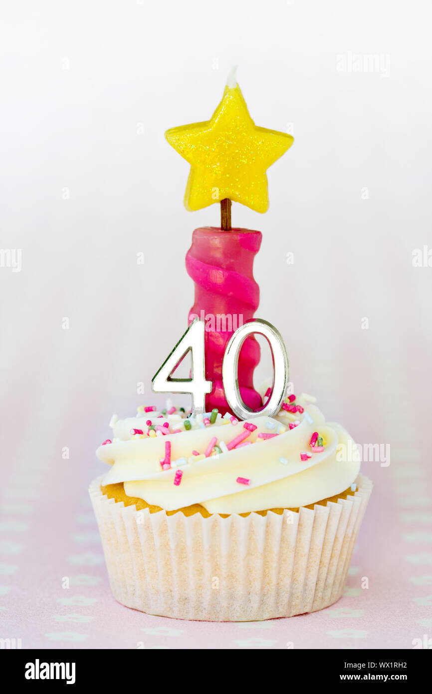 Brilliant Mini Fortieth Birthday Cake Decorated With A Single Candle Stock Funny Birthday Cards Online Sheoxdamsfinfo