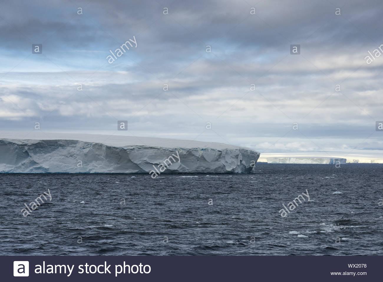 Huge Tabular Icebergs floating in Bransfield Strait near the northern tip of the Antarctic Peninsula, Antarctica Stock Photo