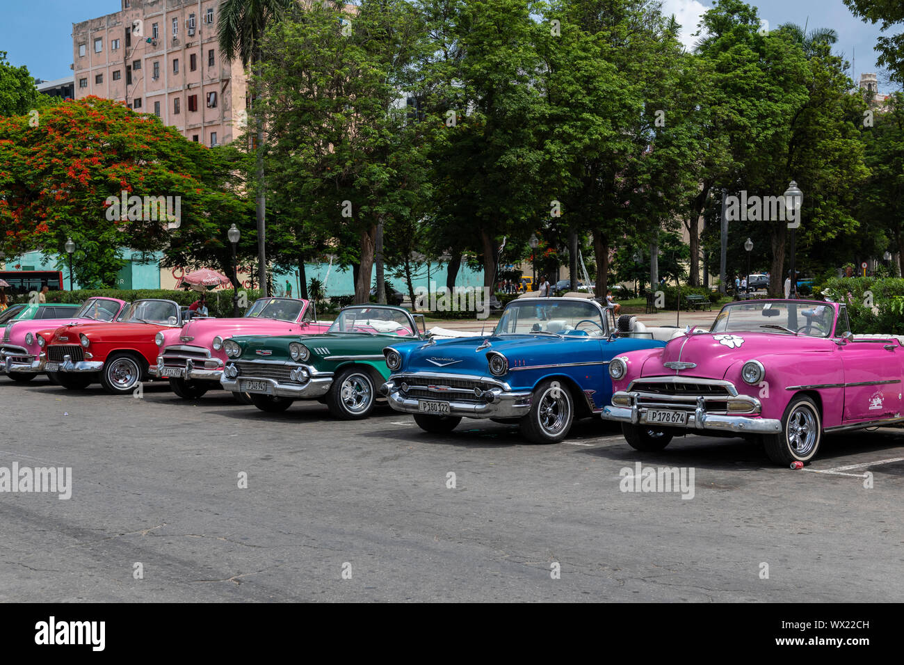 LA HAVANA, CUBA - JUNE  27, 2019: Traditional taxi in Havana Downtown waiting for customers in city sightseeing in authentic and stylish cars from the Stock Photo