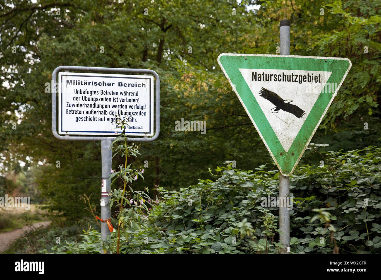 military area and nature reserve signs, Wahner Heide, Troisdorf, Germany, Europe Stock Photo