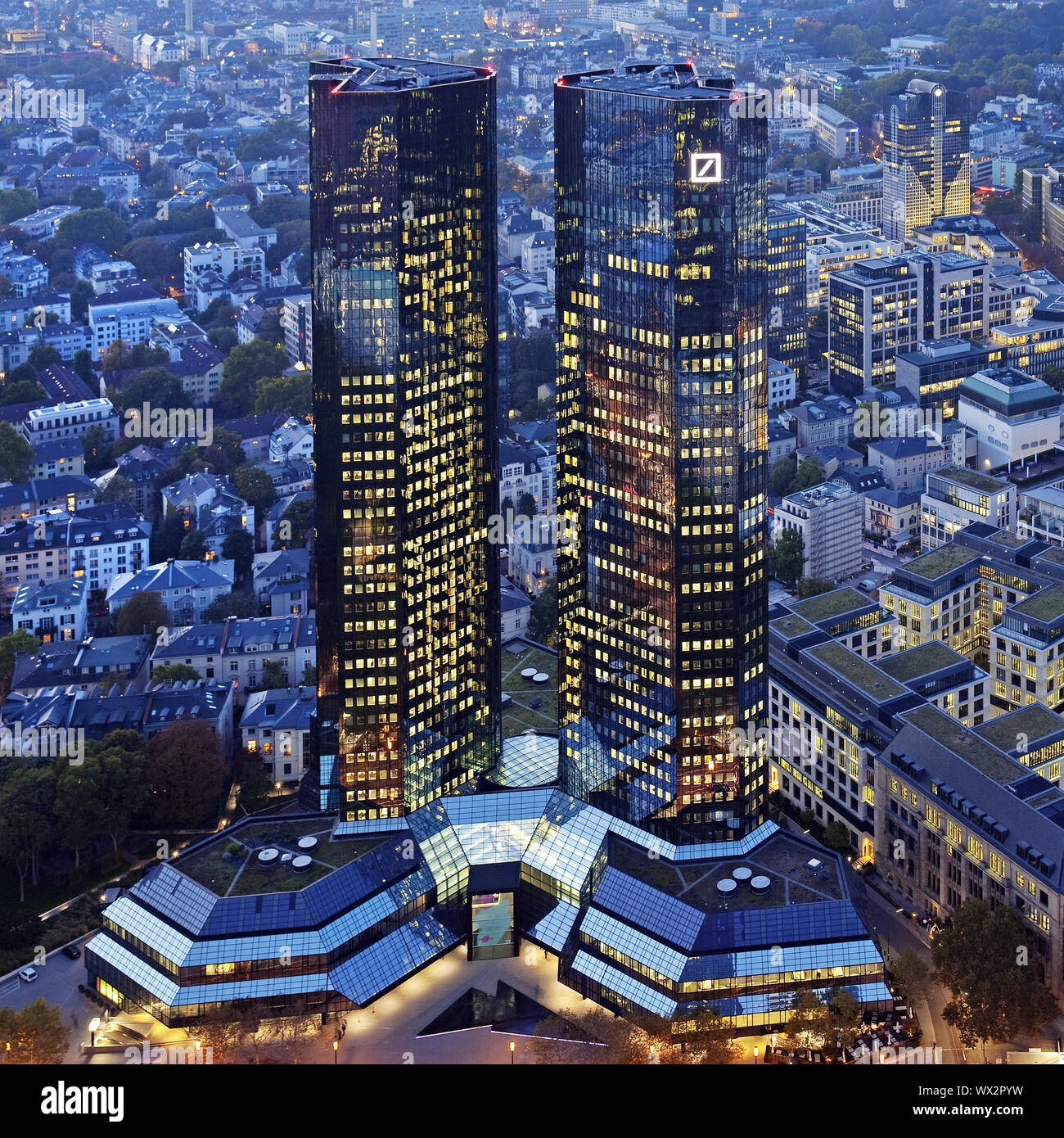 buildings of Deutsche Bank in the evening, Frankfurt am Main, Hesse, Germany, Europe Stock Photo