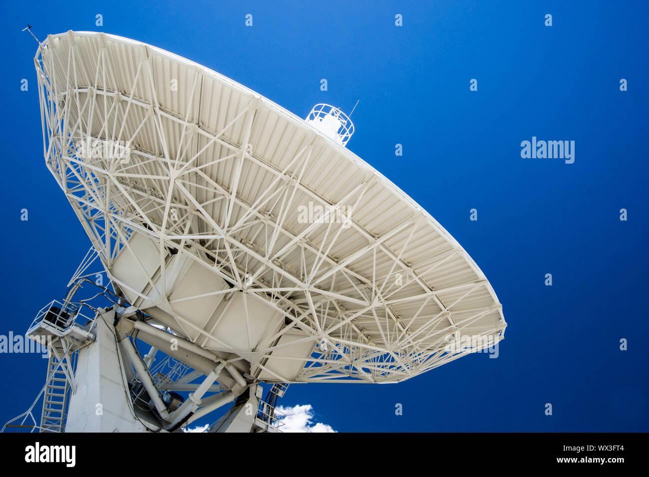 white satellite dish close up horizontal Stock Photo