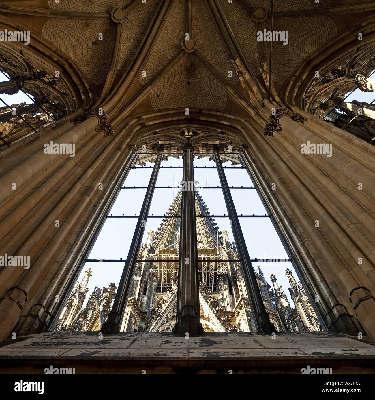 Cathedral, view through an open window from one spire to the other, Cologne, Rhineland, North Rhine- Stock Photo