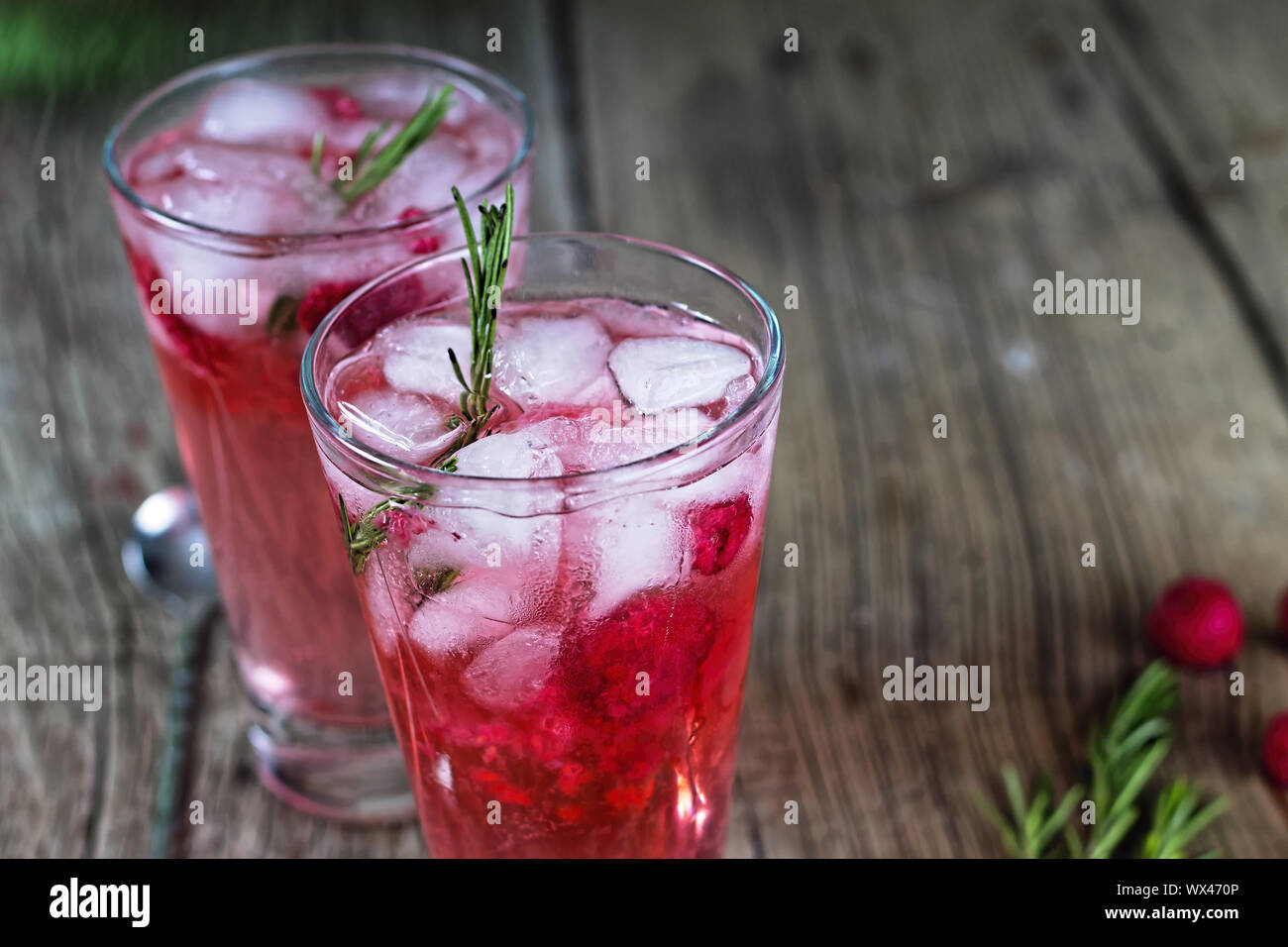 drink tonic beverage ice rosemary gin cocktail Stock Photo
