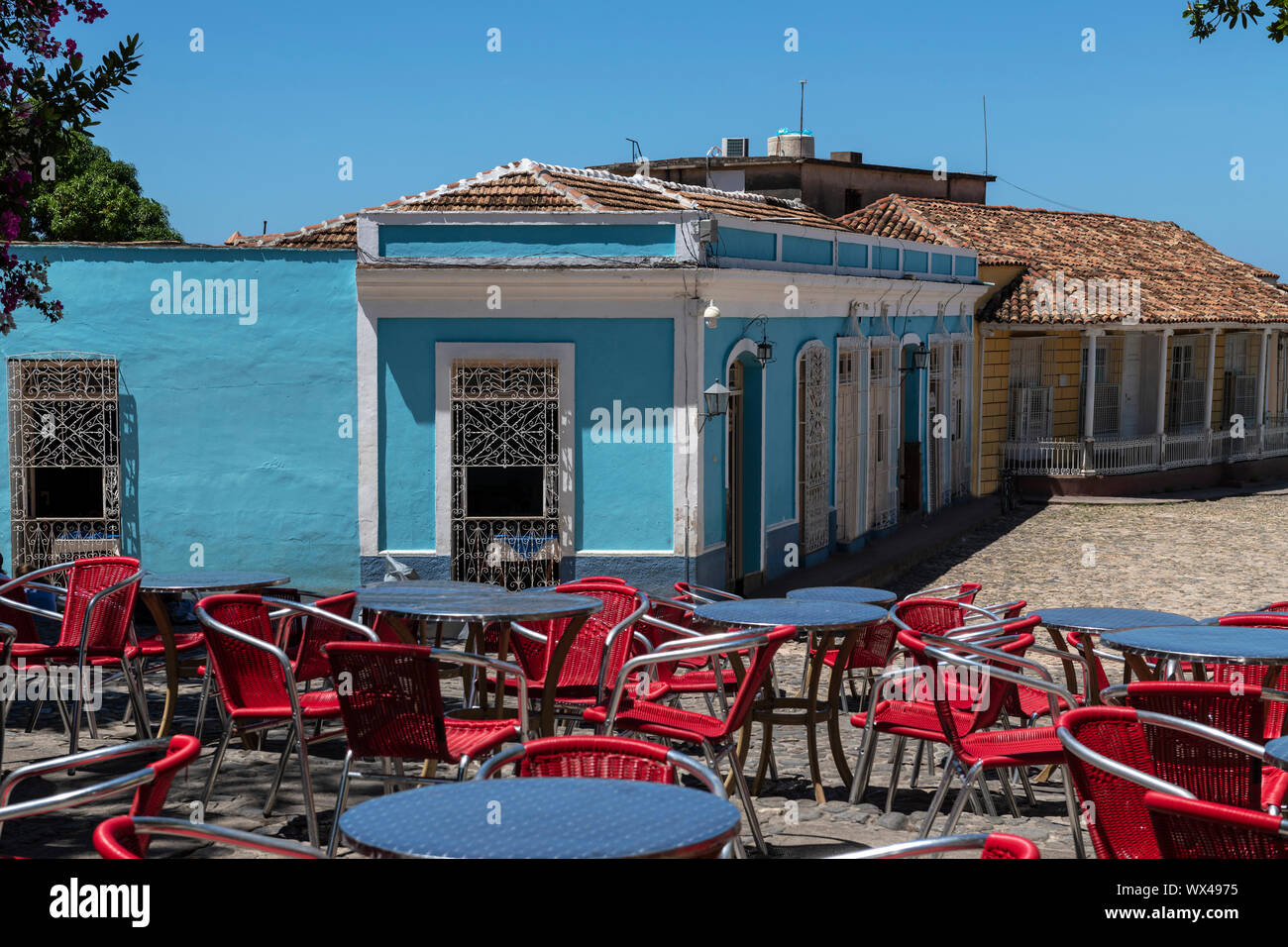 The Spanish colonial architecture of the Plaza Mayor in Trinidad, Cuba. Stock Photo