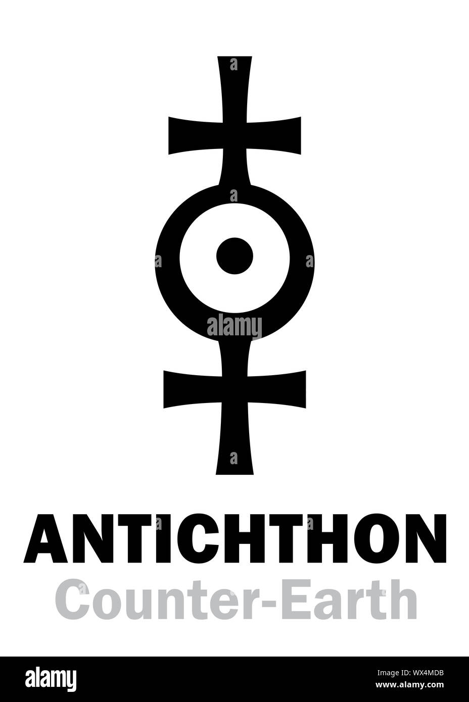 Astrology: Sign of ANTICHTHON (Counter-Earth) Stock Photo