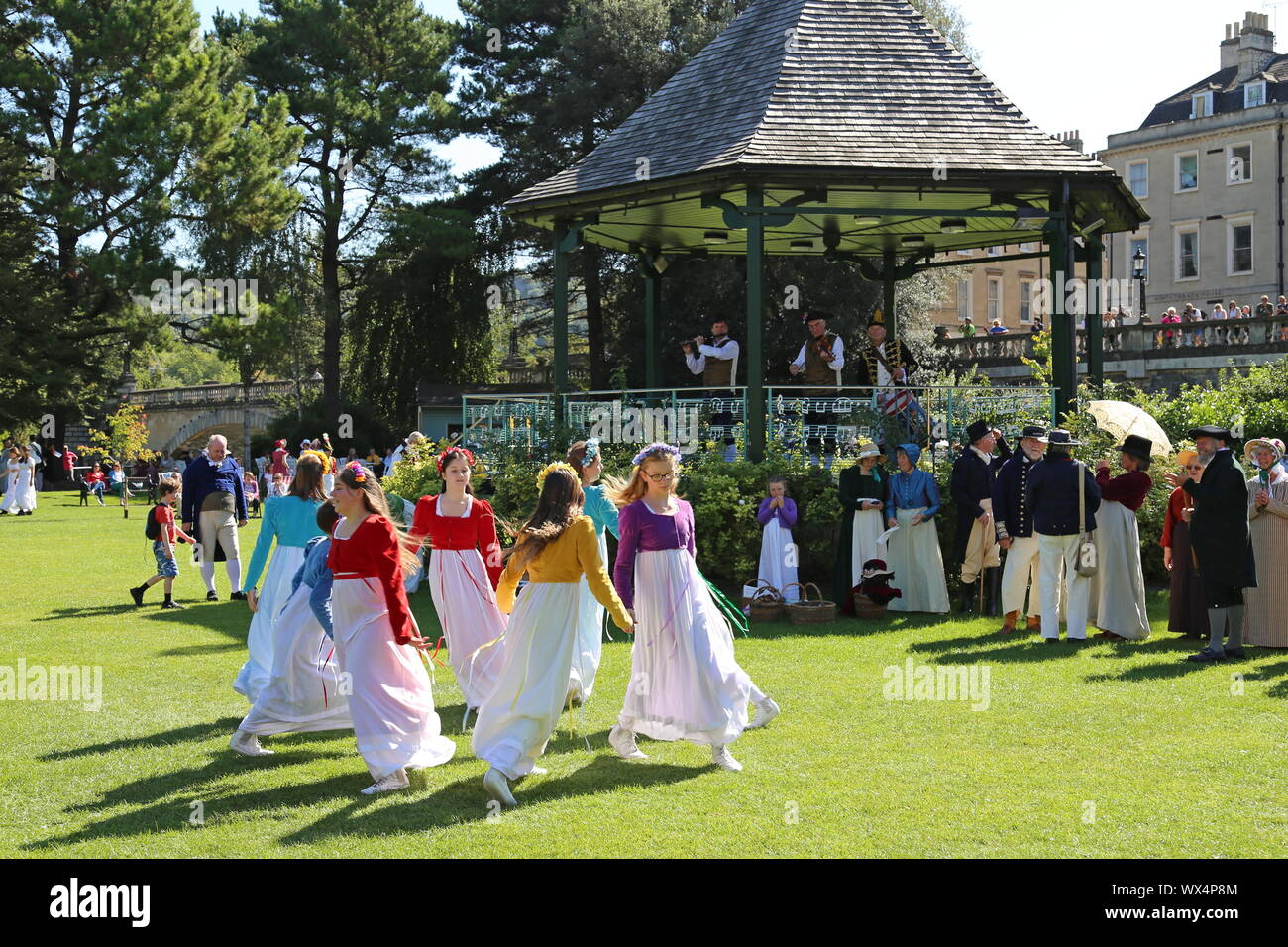'Steps in Time' folk dance group entertain, Jane Austen Festival, Parade Gardens, Bath, Somerset, England, Great Britain, United Kingdom UK, Europe Stock Photo