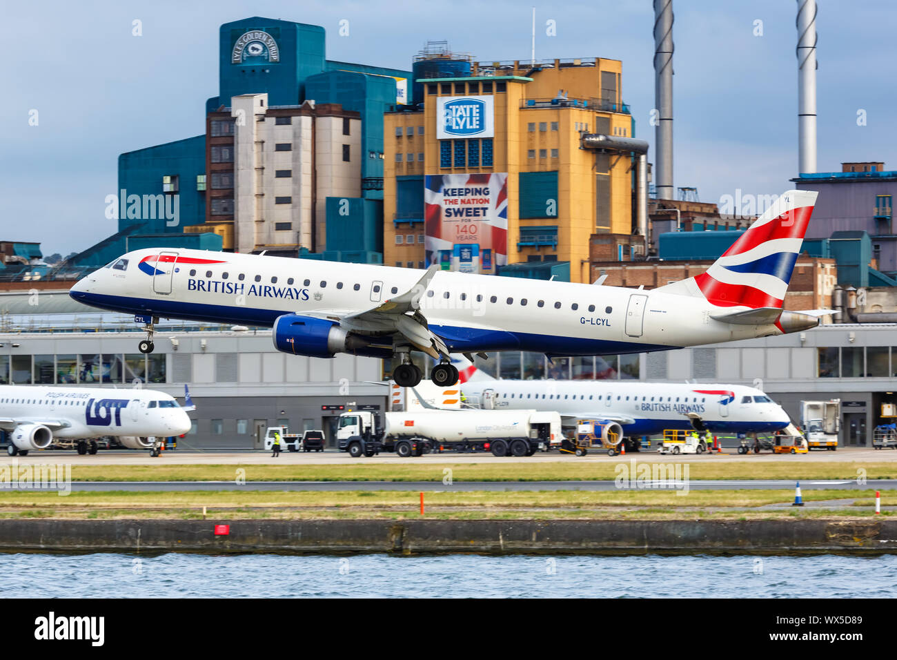 London, United Kingdom – July 7, 2019: British Airways BA CityFlyer Embraer 190 airplane at London City Airport (LCY) in the United Kingdom. Stock Photo