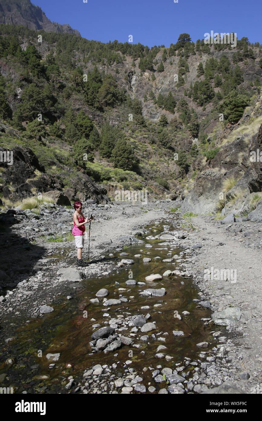 Hike through the Barranco de Las Angustias Stock Photo