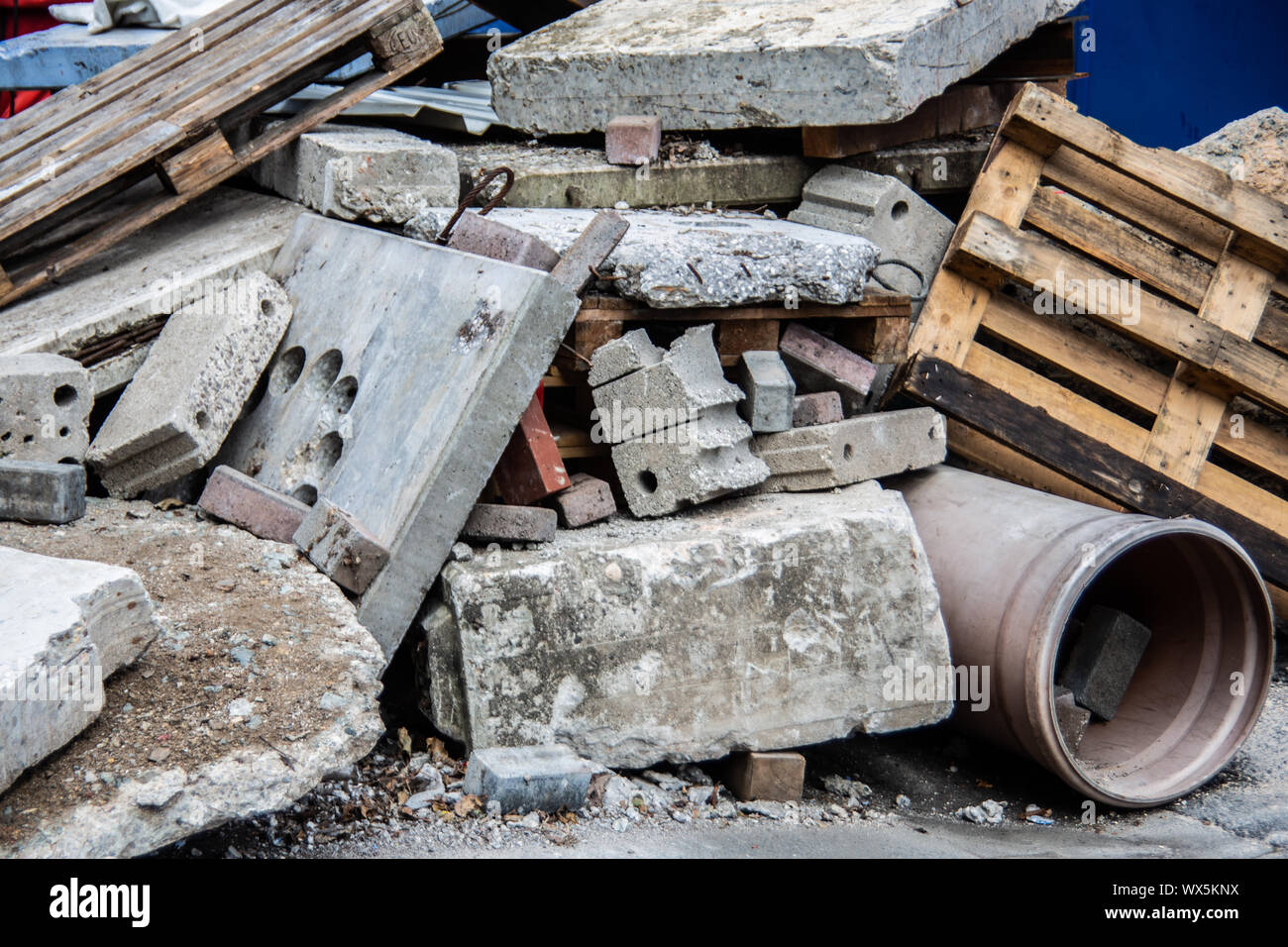 Building rubble of concrete and wood Stock Photo
