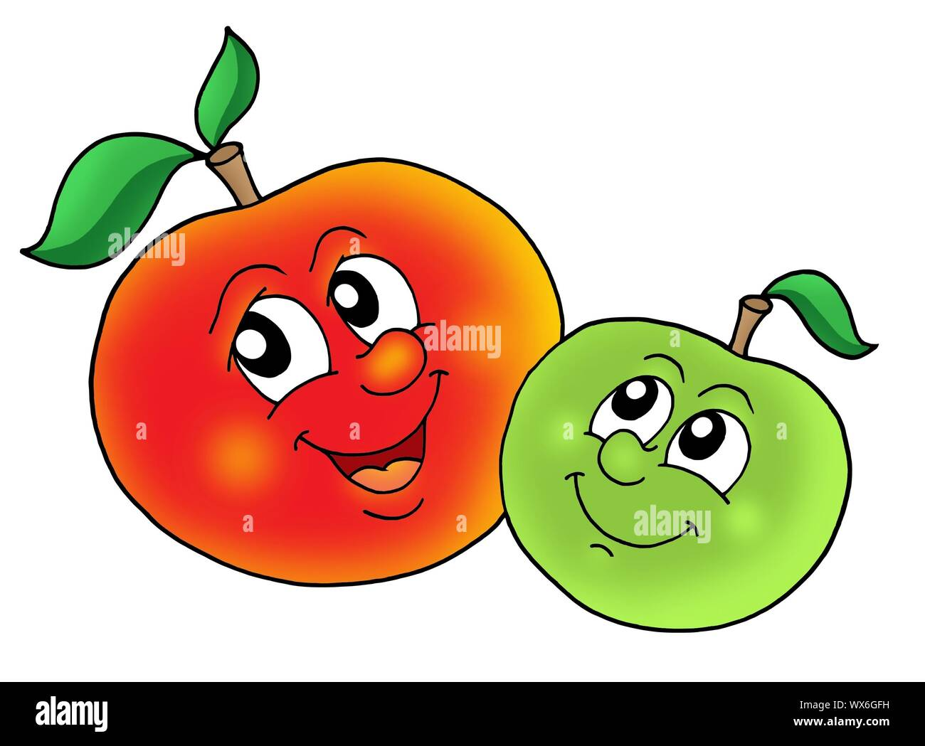 pair of smiling apples color illustration WX6GFH
