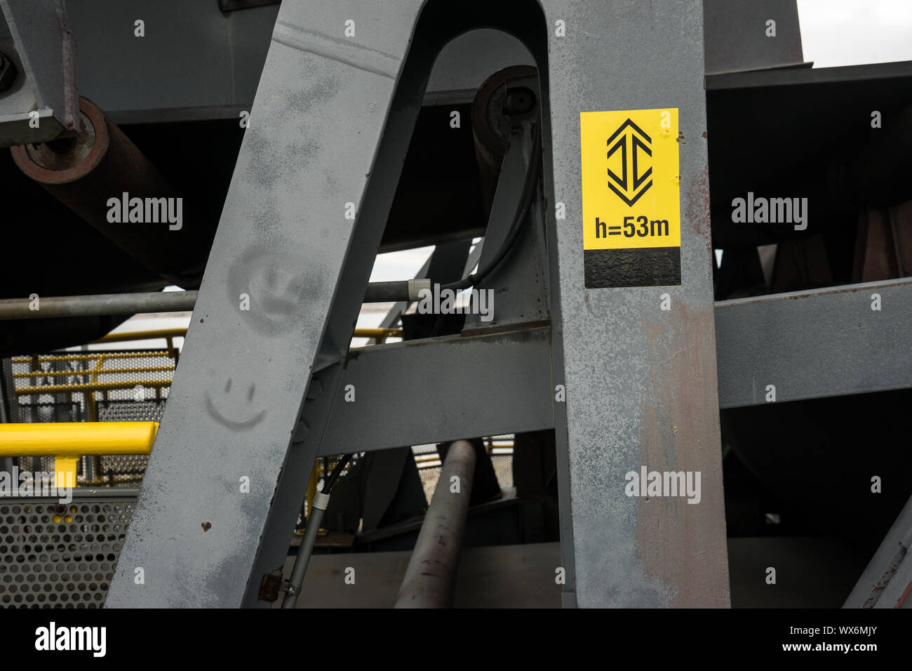 Overburden-conveyor bridge F60 in lignite mining Stock Photo