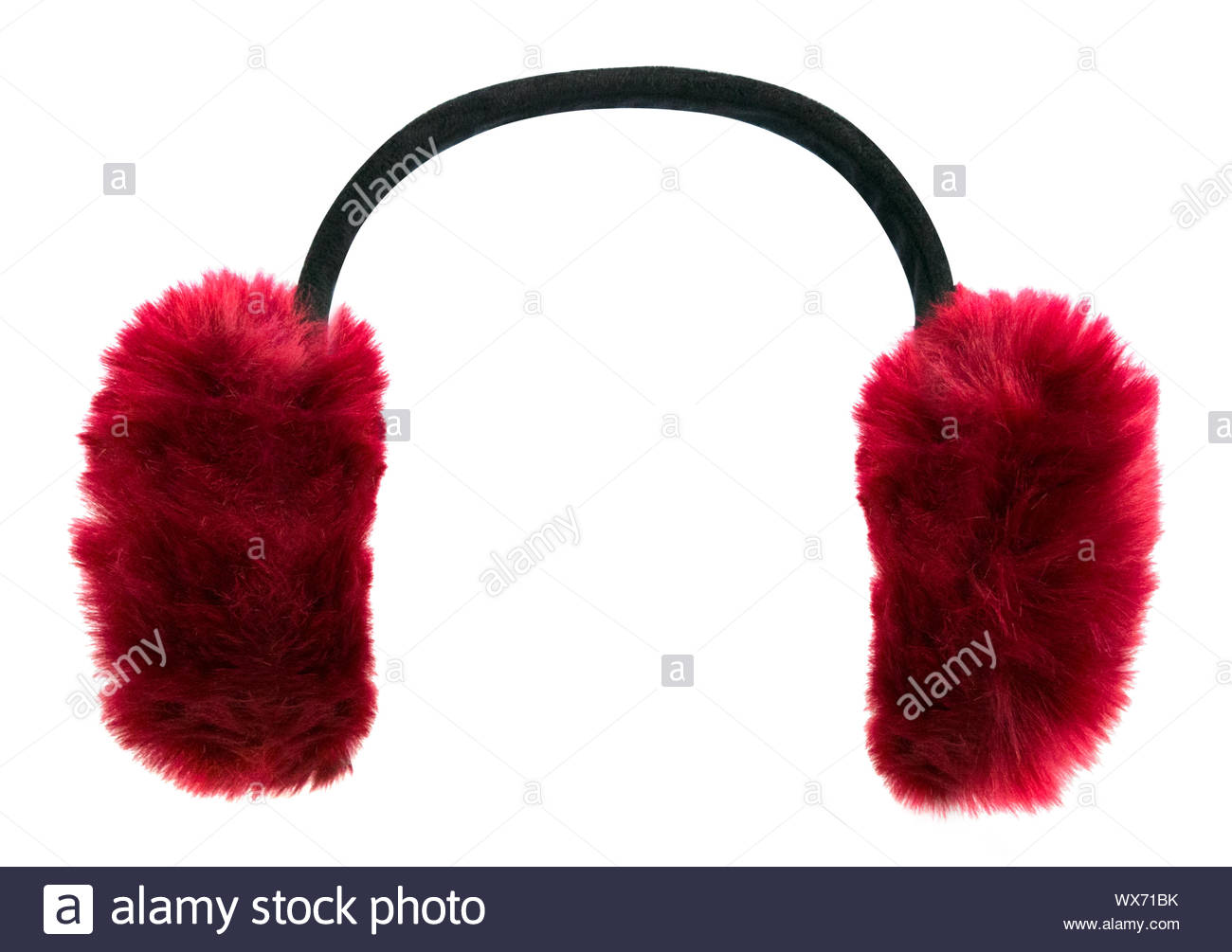 Dark red winter earmuffs isolated on white background Stock Photo