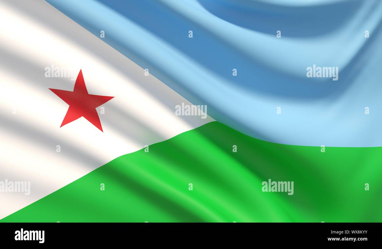 Flag of Djibouti. Waved highly detailed fabric texture. 3D illustration. Stock Photo