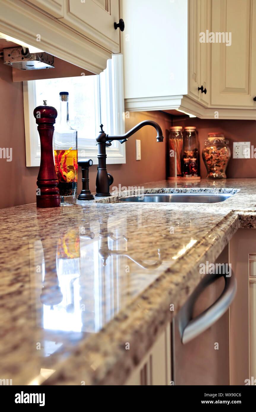 Modern luxury kitchen interior with granite countertop Stock ...