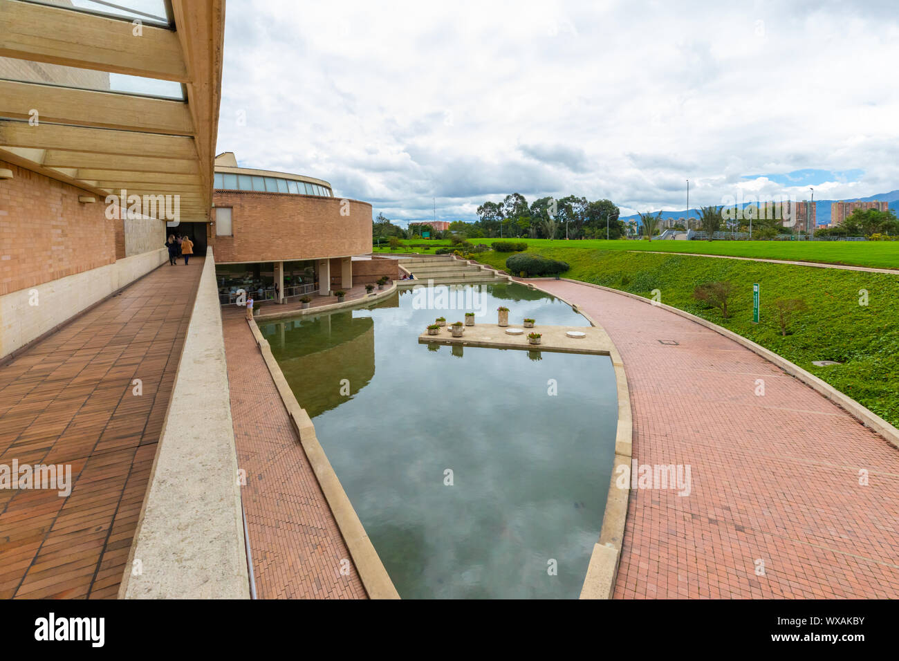 Bogota pubblic library Virgilio Barco little pond view Stock Photo
