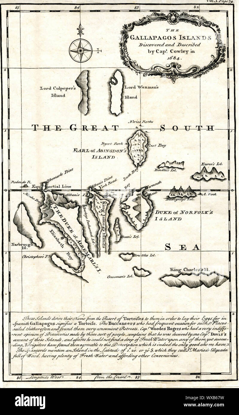 Poster Many Sizes; Map Of The Galapagos Islands As Described By Ambrose Cowley