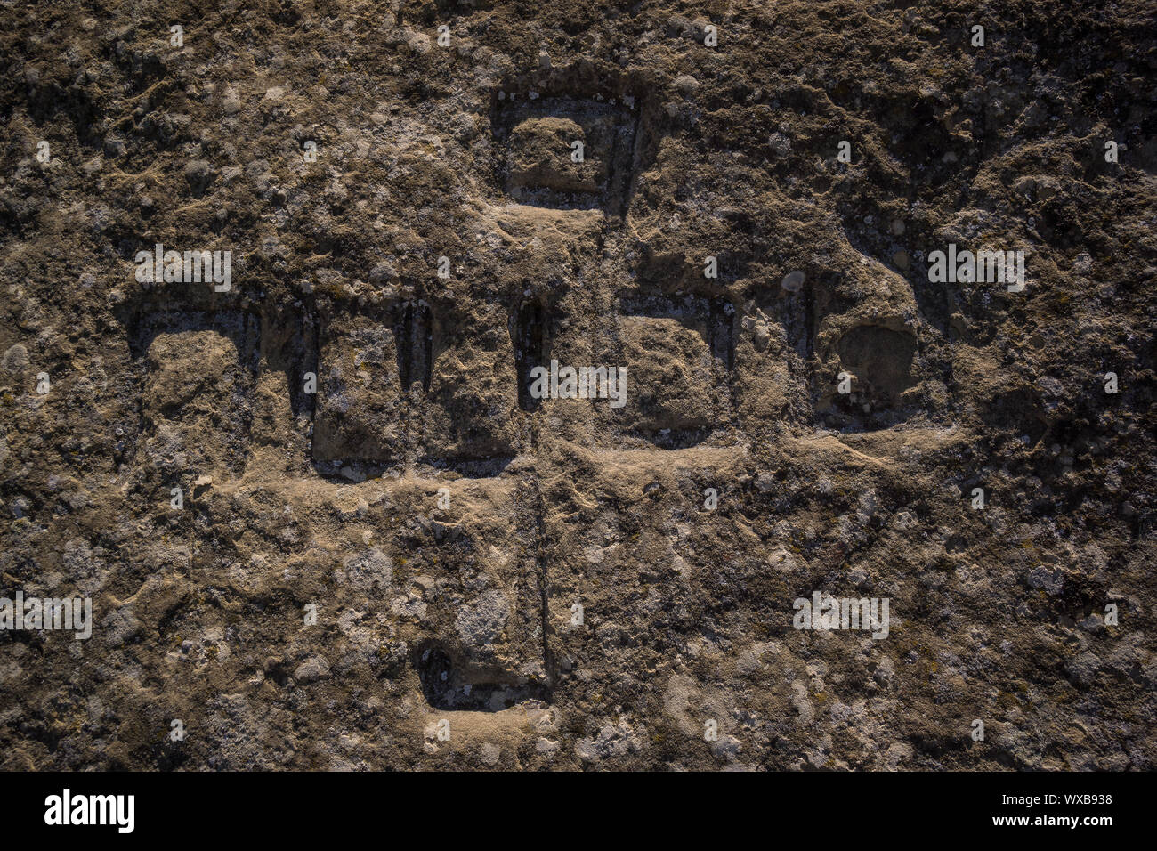 ancient stone engraving in georgian alphabet Stock Photo