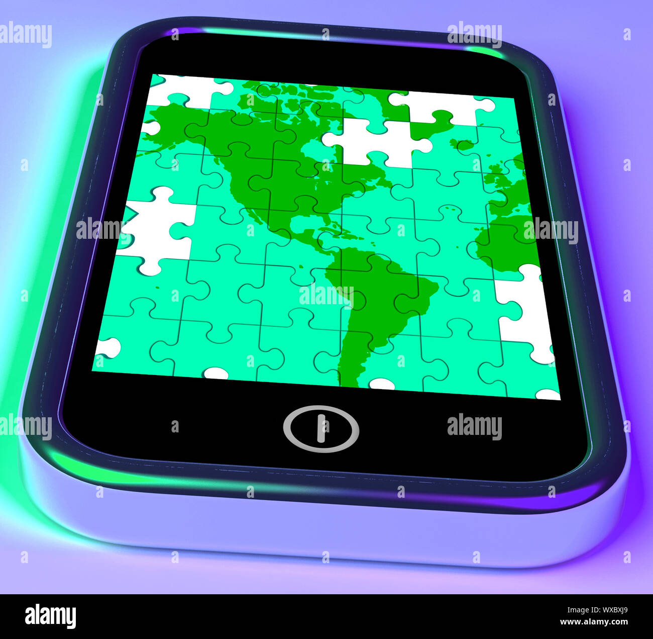 Map Of America On Smartphone Shows Mobile Global Communications Or American Territory Stock Photo