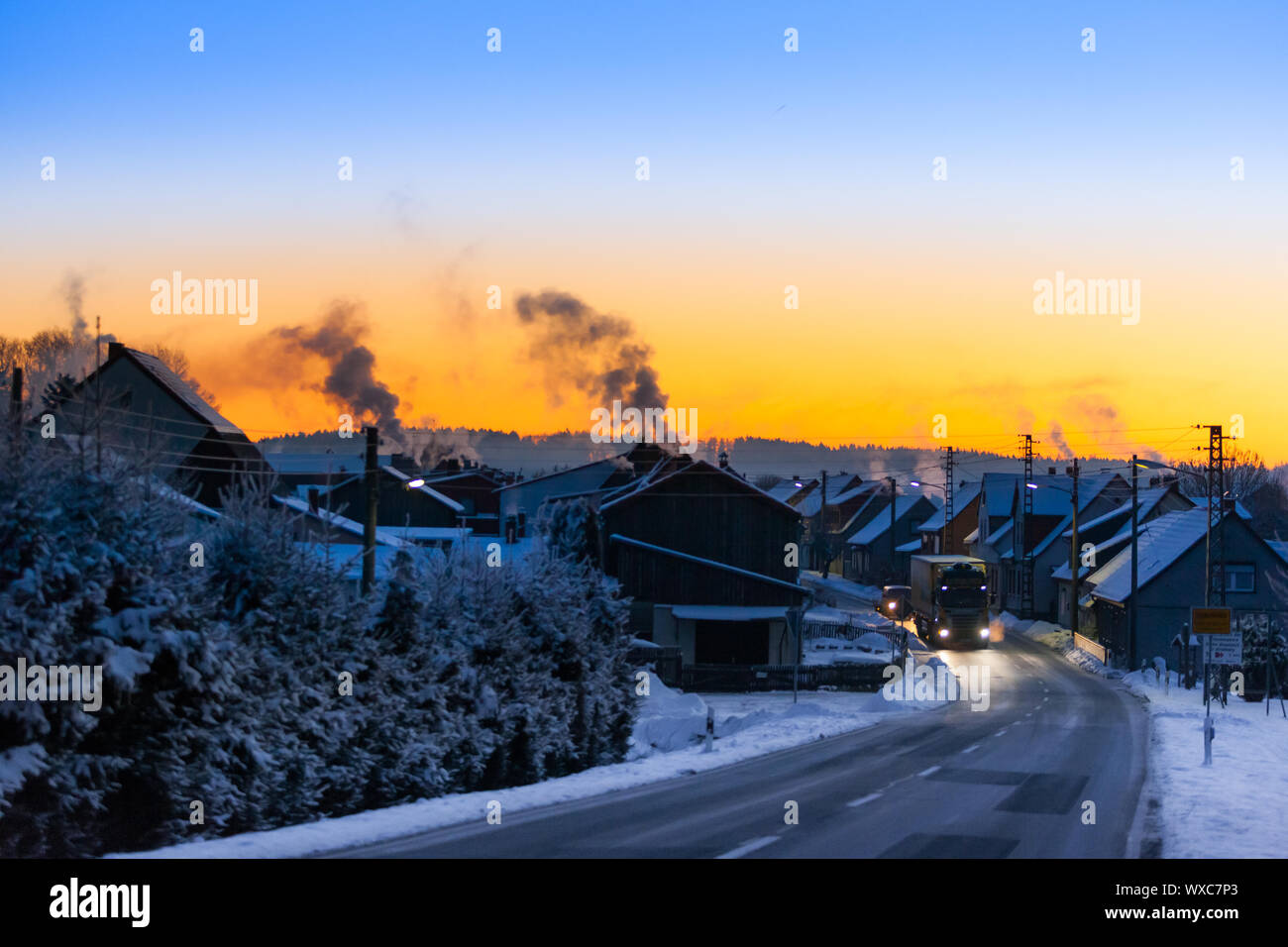 View over Siptenfelde in the Harz Mountains at sunrise Stock Photo