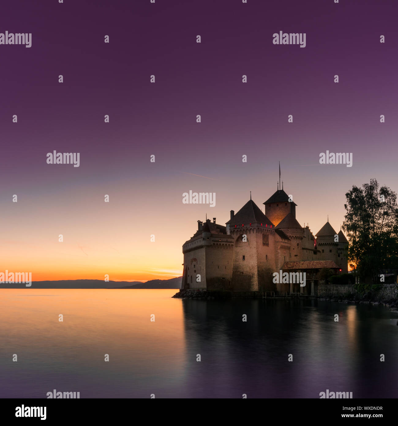 Montreux, VD / Switzerland - 31 May 2019: the historic Chillon Castle on the shores of Lake Geneva a Stock Photo
