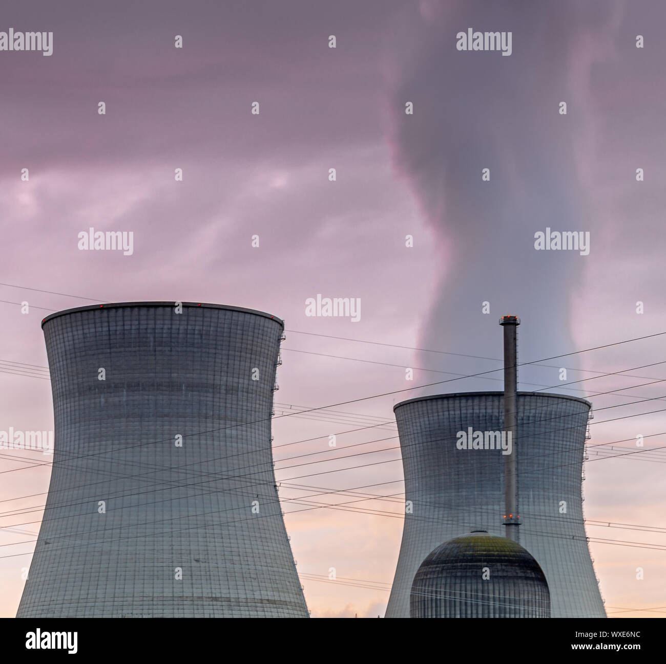 Nuclear power plant in evening light Stock Photo