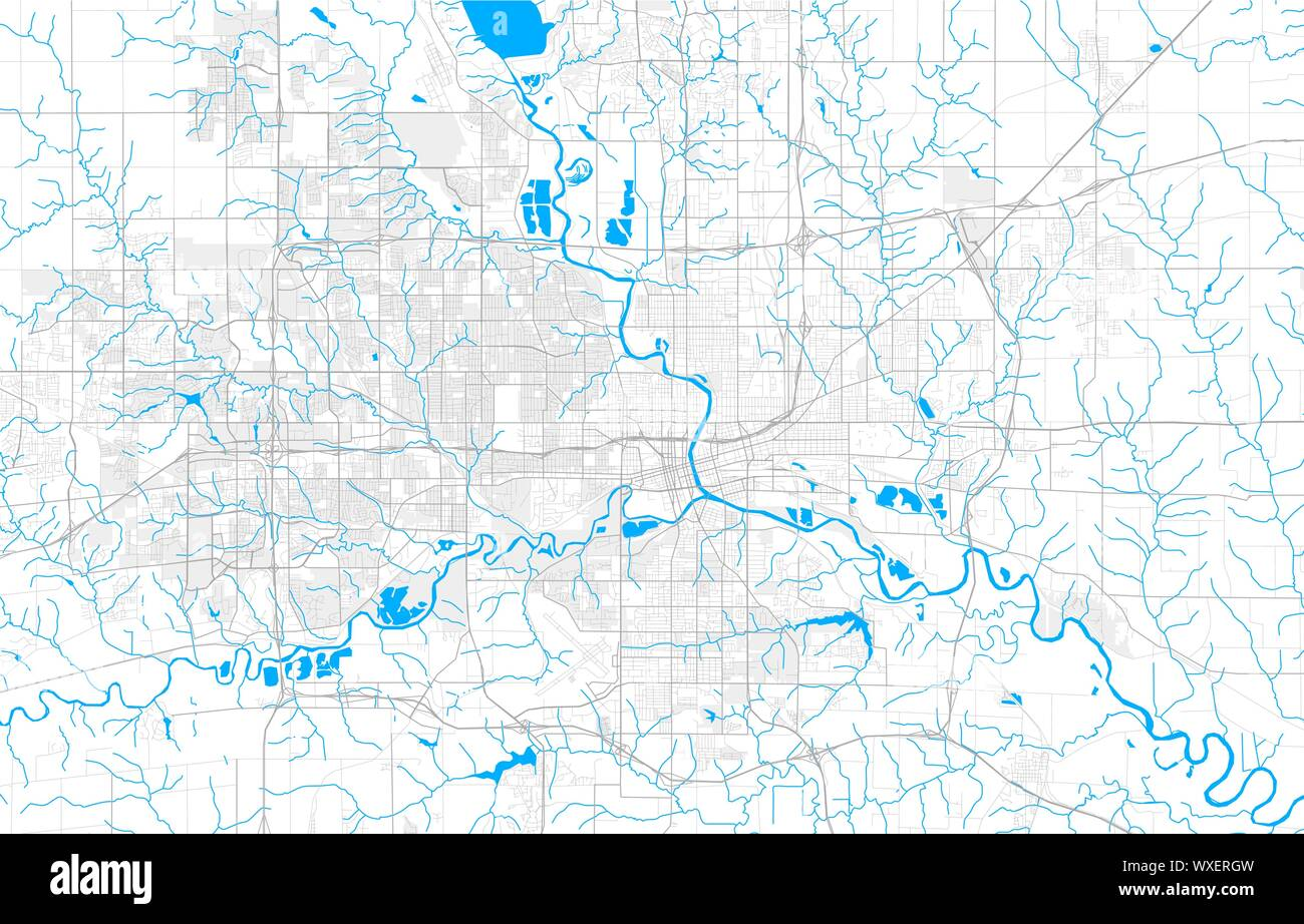 Rich detailed vector area map of Des Moines, Iowa, USA. Map ...